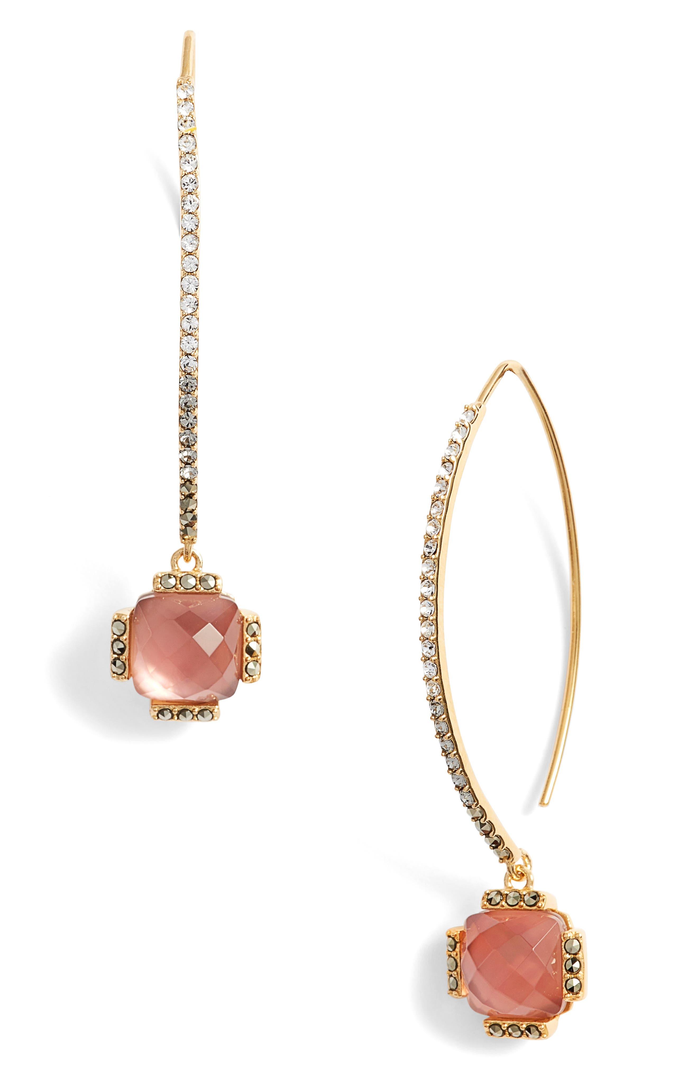 Threader Crystal Earrings,                             Main thumbnail 1, color,                             Blush/ Gold