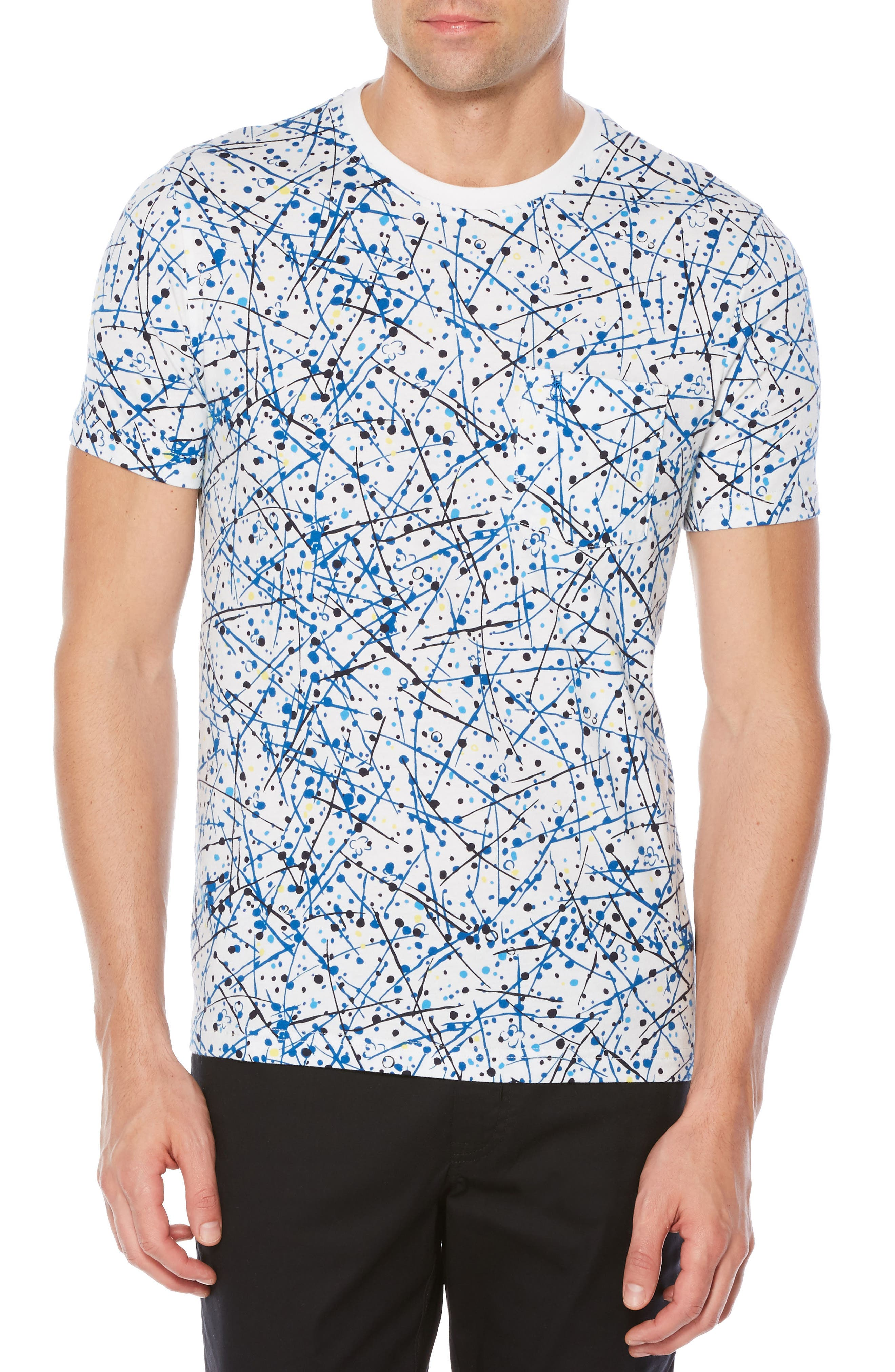 Allover Splatter Print T-Shirt,                             Main thumbnail 1, color,                             Bright White