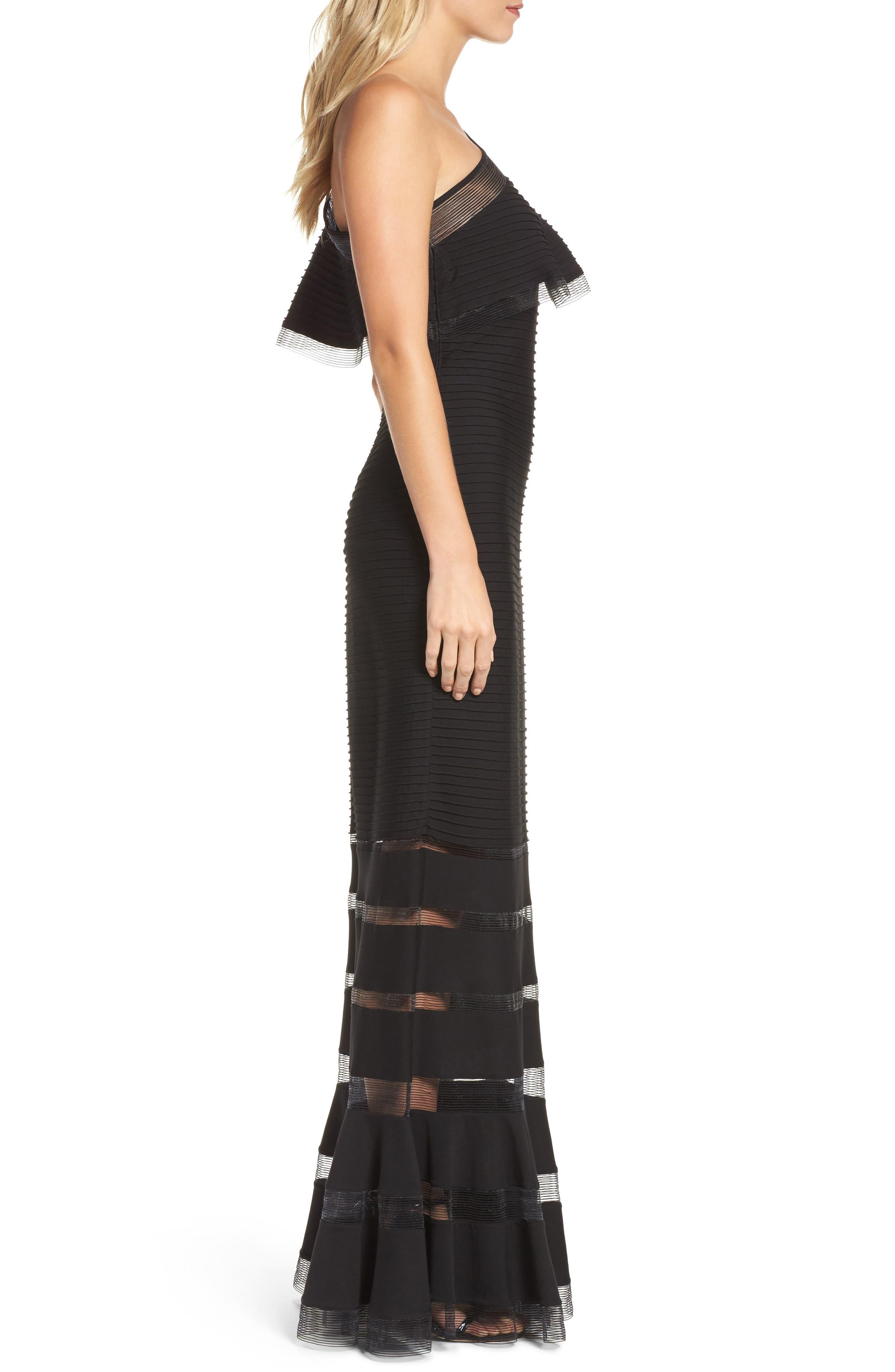 Alternate Image 3  - Tadashi Shoji Pintuck One-Shoulder Gown (Regular & Petite)