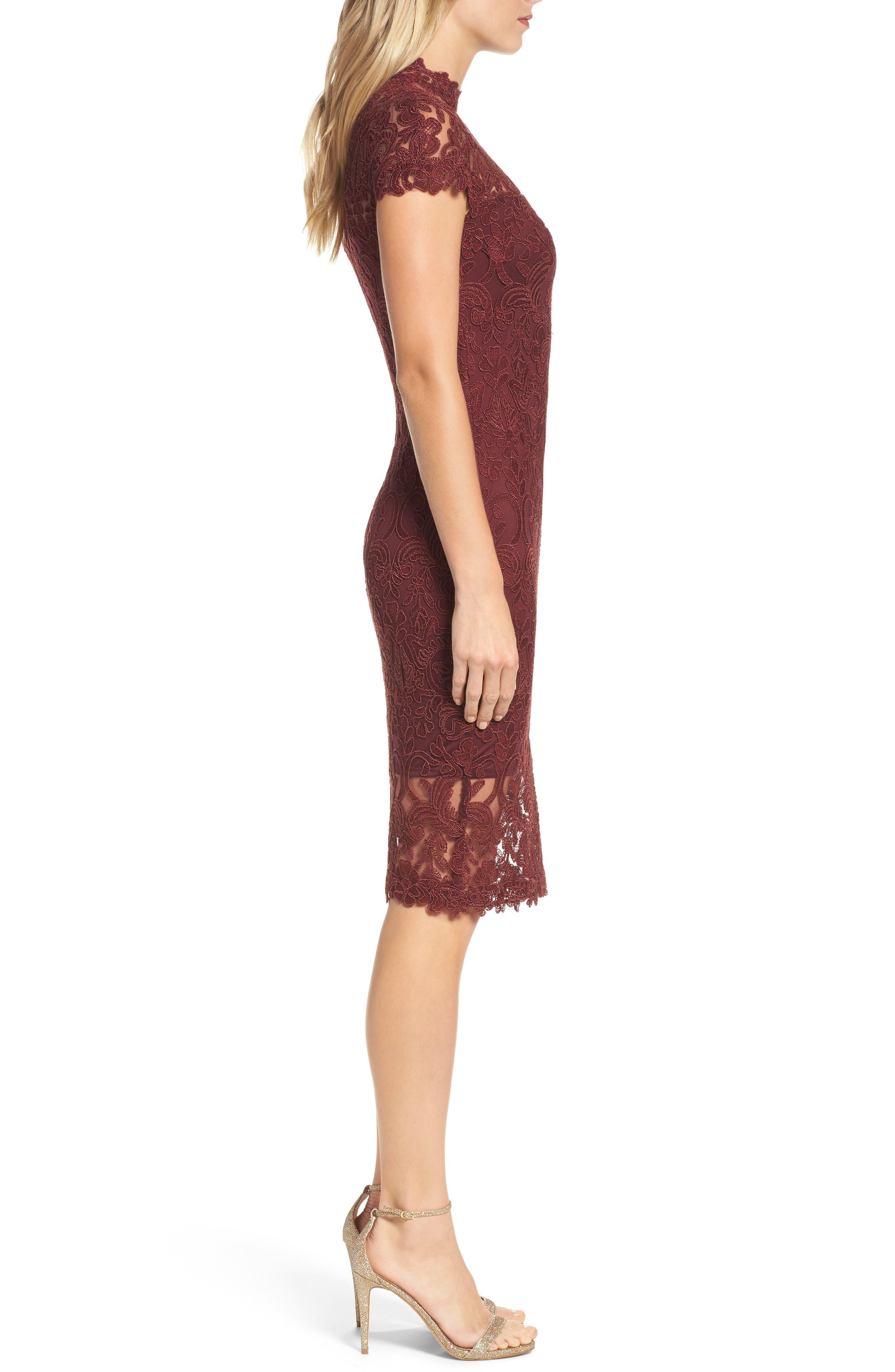 Mock Neck Corded Tulle Sheath Dress,                             Alternate thumbnail 3, color,                             Auburn