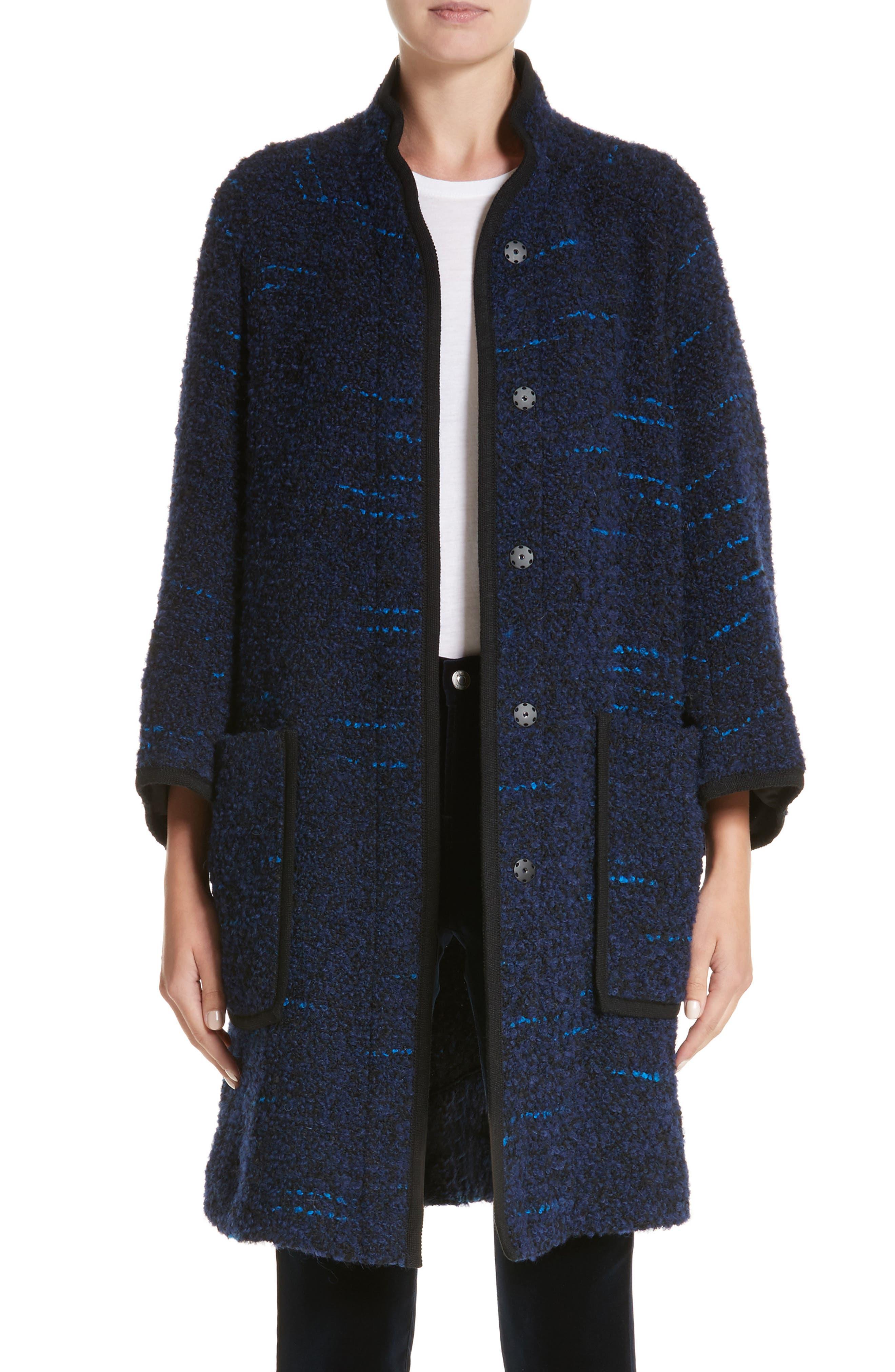 Wool Blend Swing Coat,                         Main,                         color, Navy / Blue Multi
