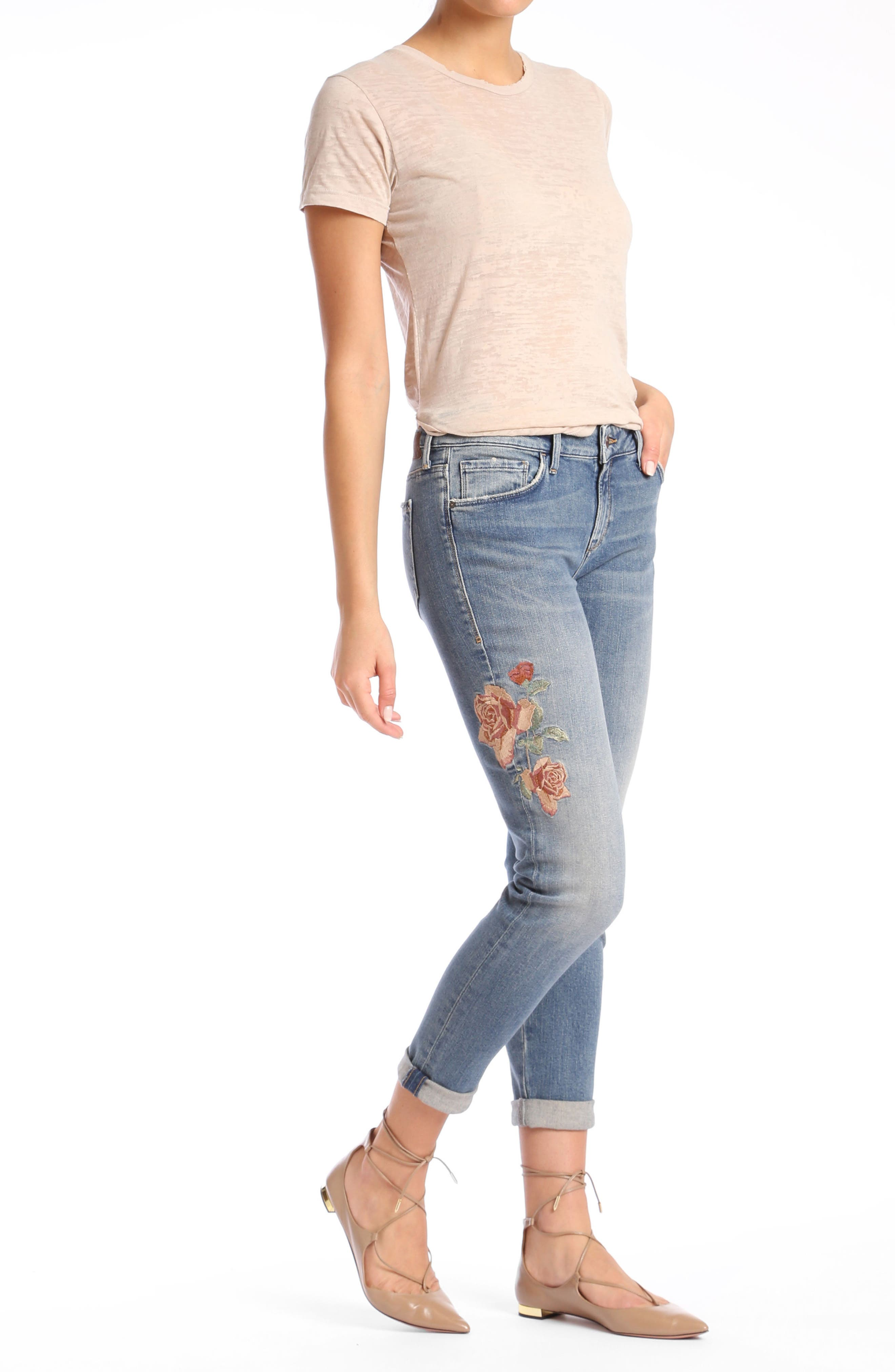 Ada Embroidered Boyfriend Jeans,                             Alternate thumbnail 4, color,                             Mid Rose Embroidery