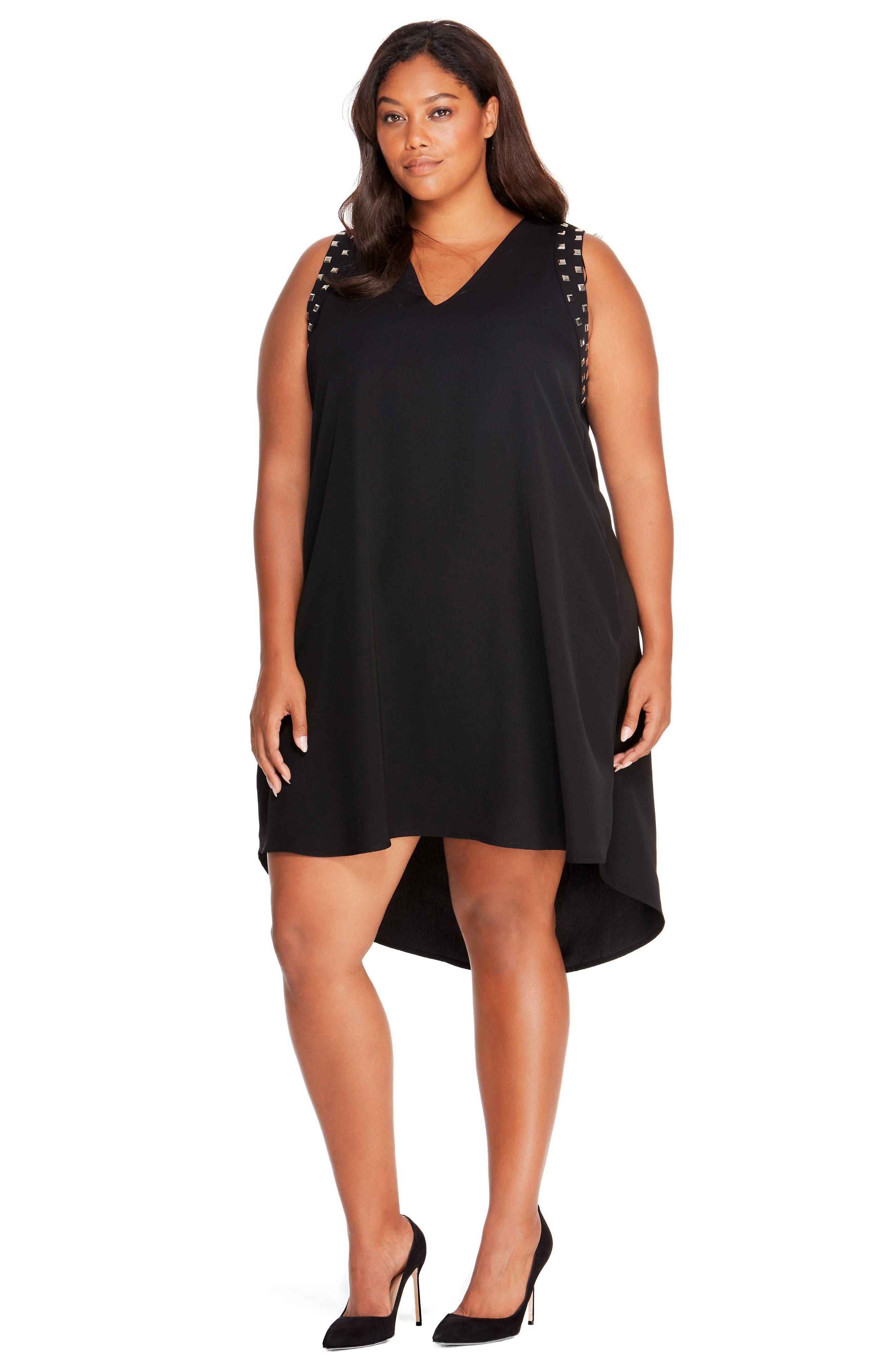Studded Shift Dress,                             Alternate thumbnail 4, color,                             Black Beauty