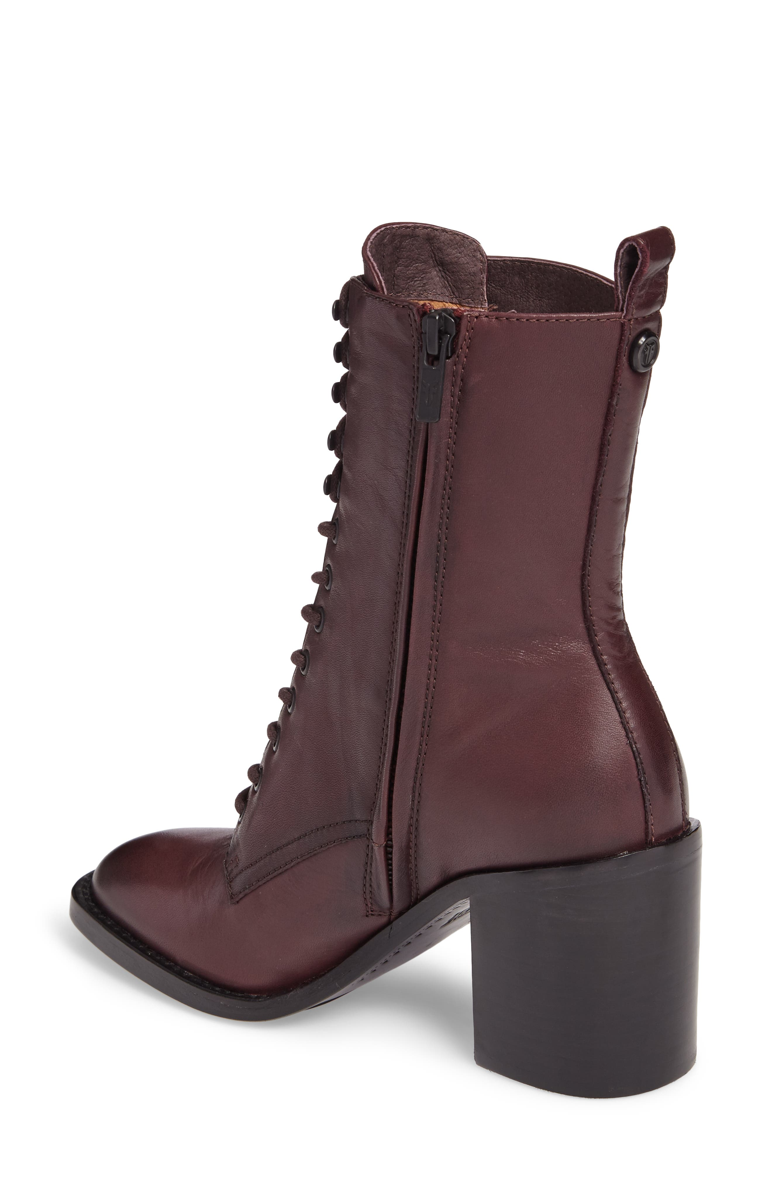 Pia Combat Boot,                             Alternate thumbnail 2, color,                             Wine
