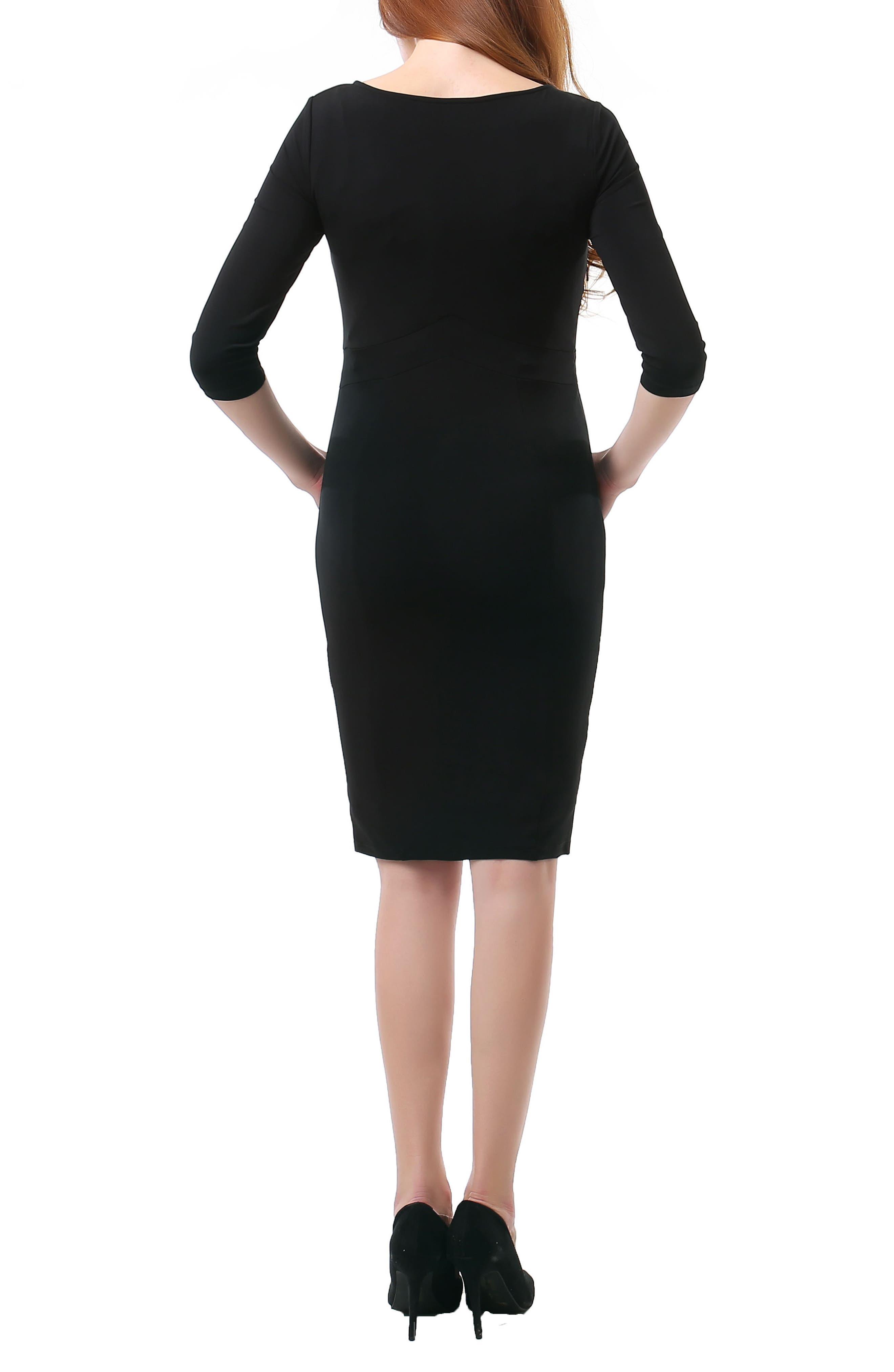 Meredith Maternity Dress,                             Alternate thumbnail 2, color,                             Black