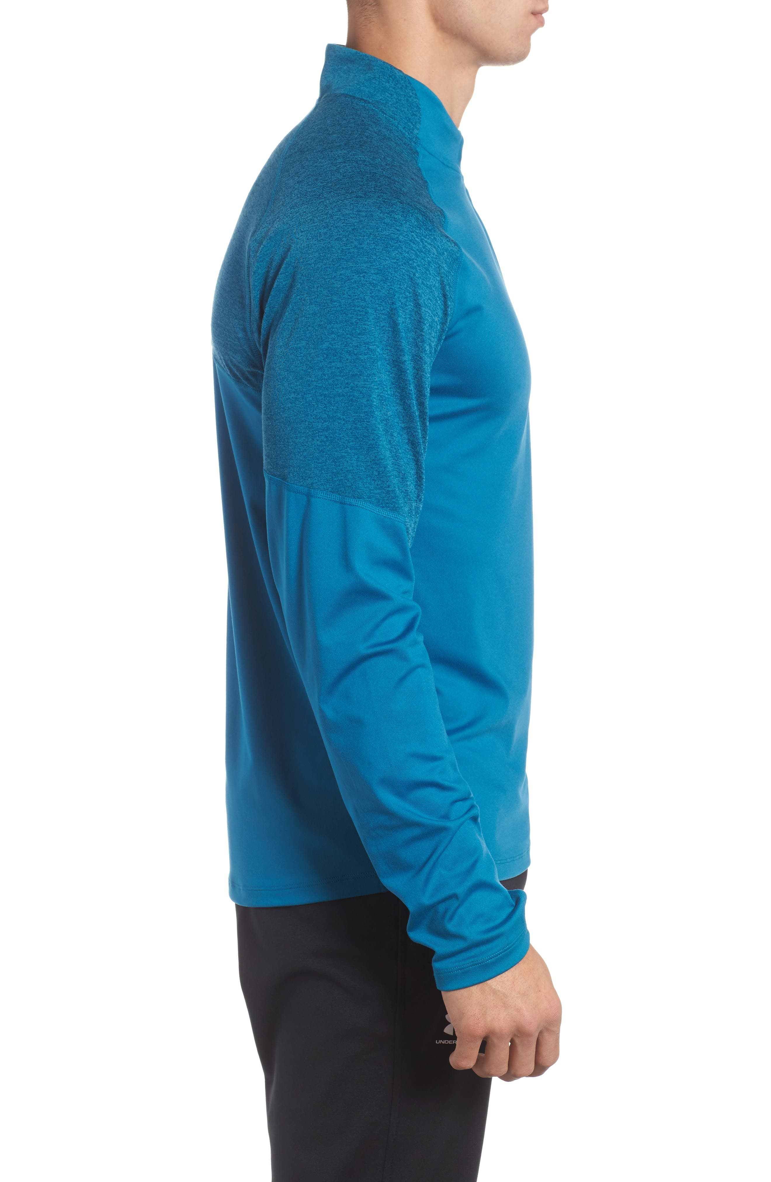 Threadborne Quarter Zip Performance T-Shirt,                             Alternate thumbnail 3, color,                             Bayou Blue / Reflective