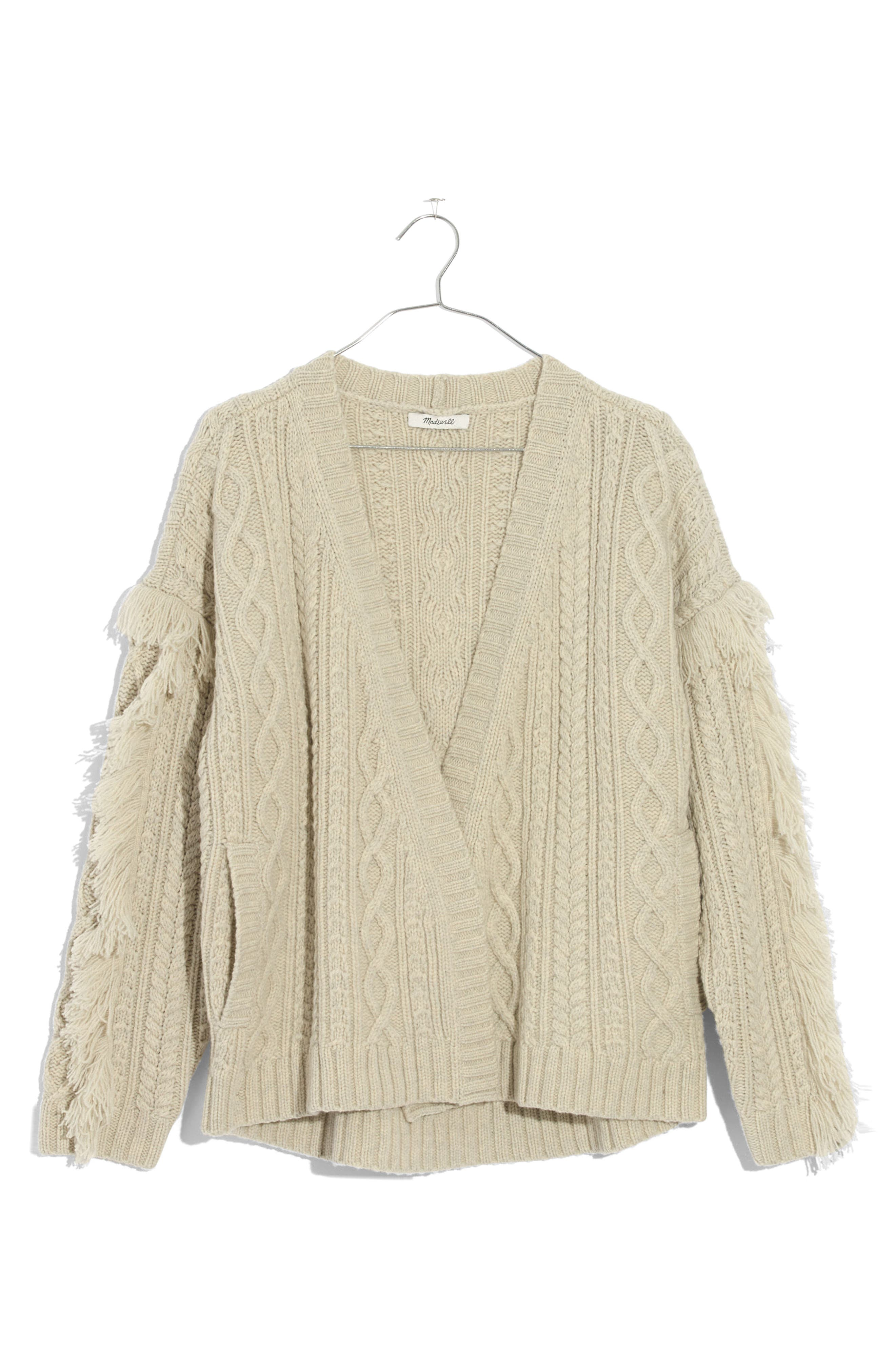 Fringe Cable Knit Wool Cardigan,                             Alternate thumbnail 3, color,                             Heather Fog