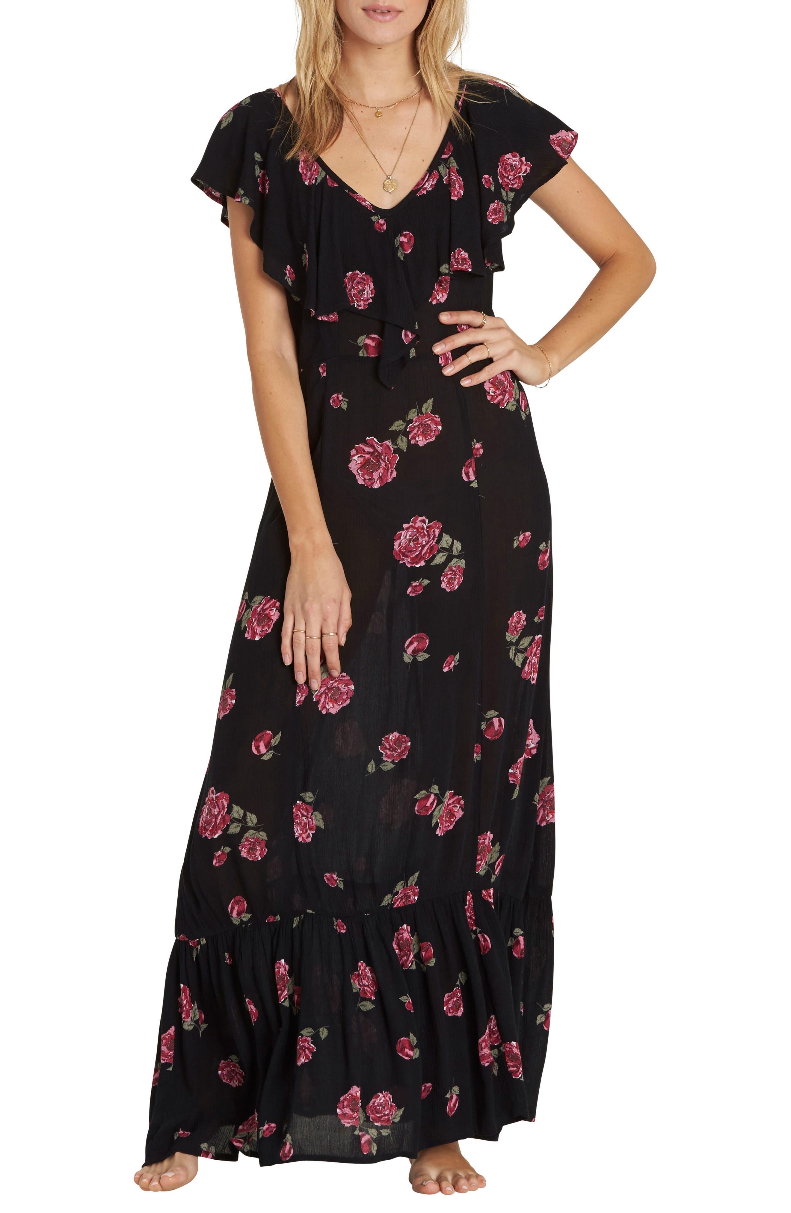 Southern Border Ruffled Maxi Dress,                             Main thumbnail 1, color,                             Black