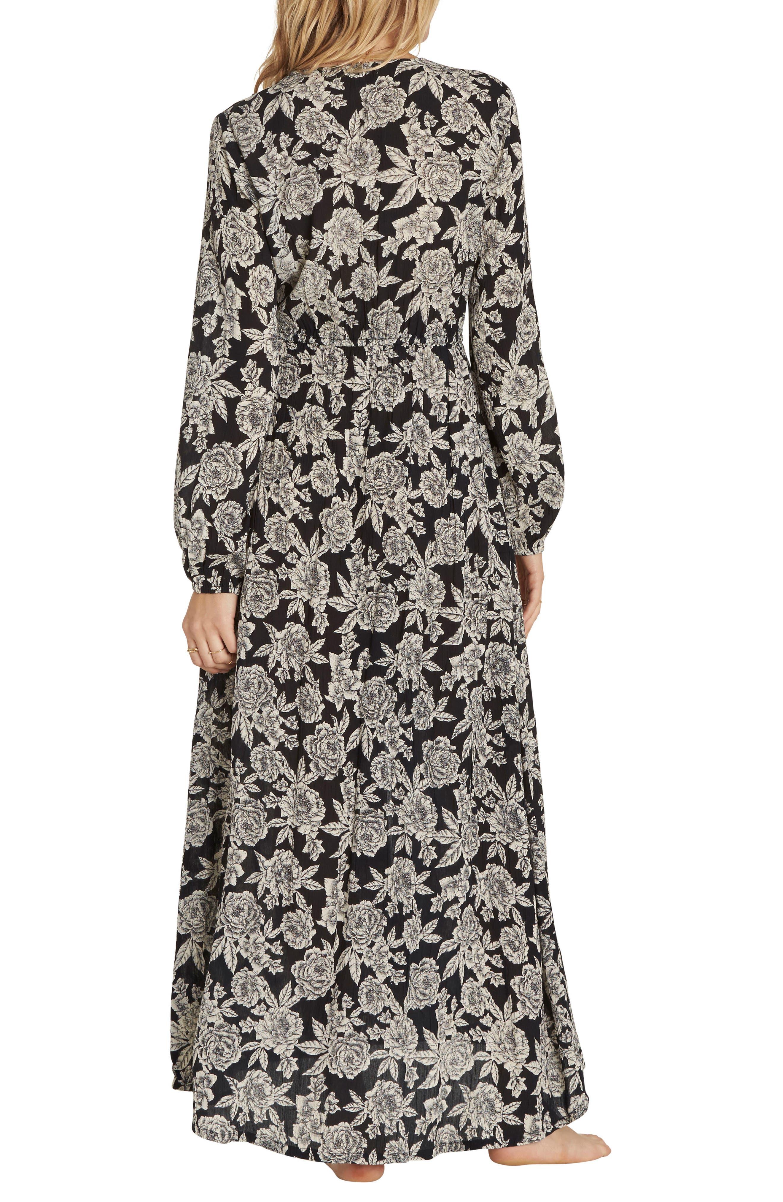 Allegra Kimono Dress,                             Alternate thumbnail 2, color,                             Black/ White