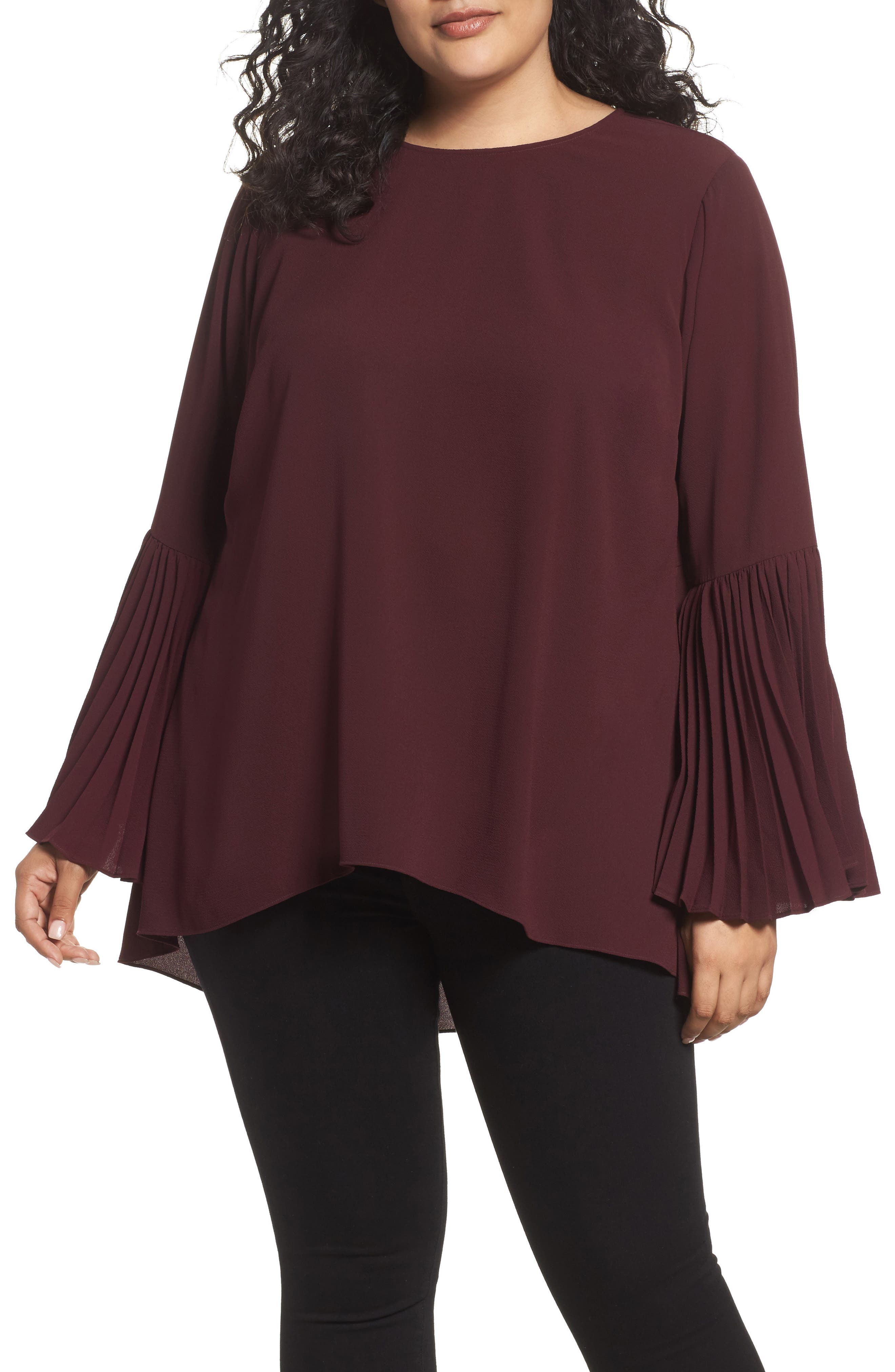 Pleated Bell Sleeve High/Low Shirt,                             Main thumbnail 1, color,                             Deep Claret