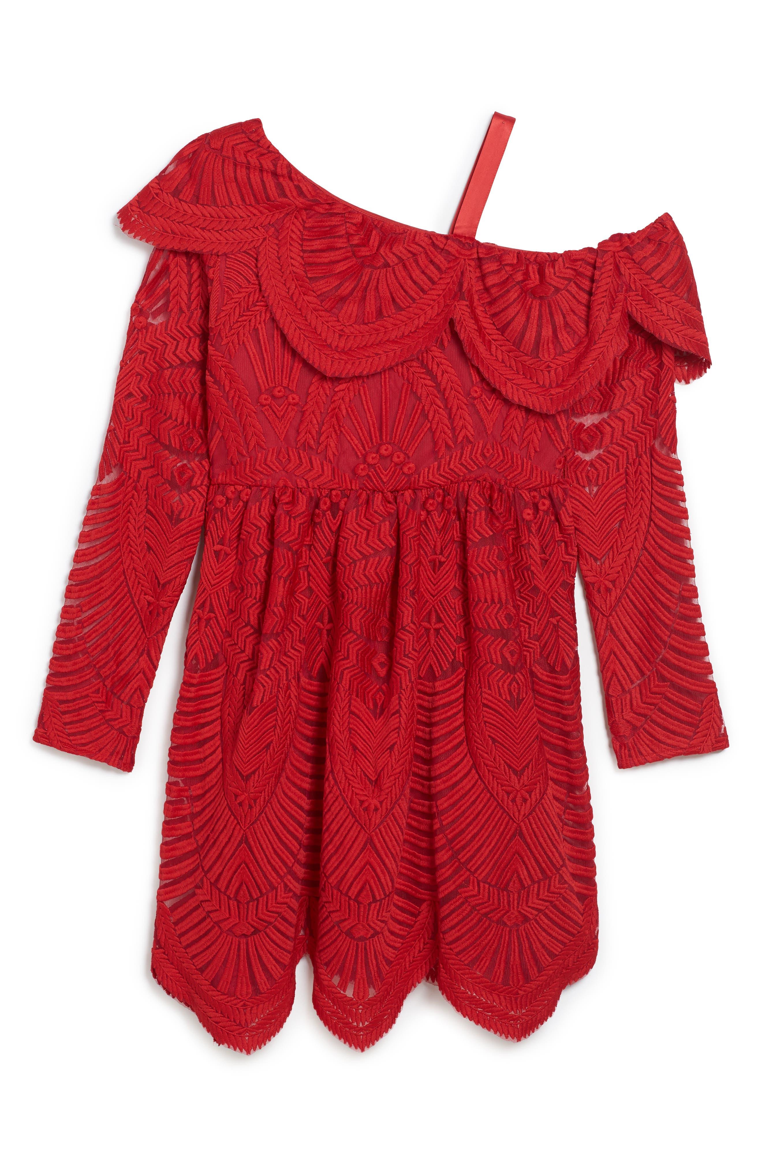 Sybil Lace Dress,                             Main thumbnail 1, color,                             Red