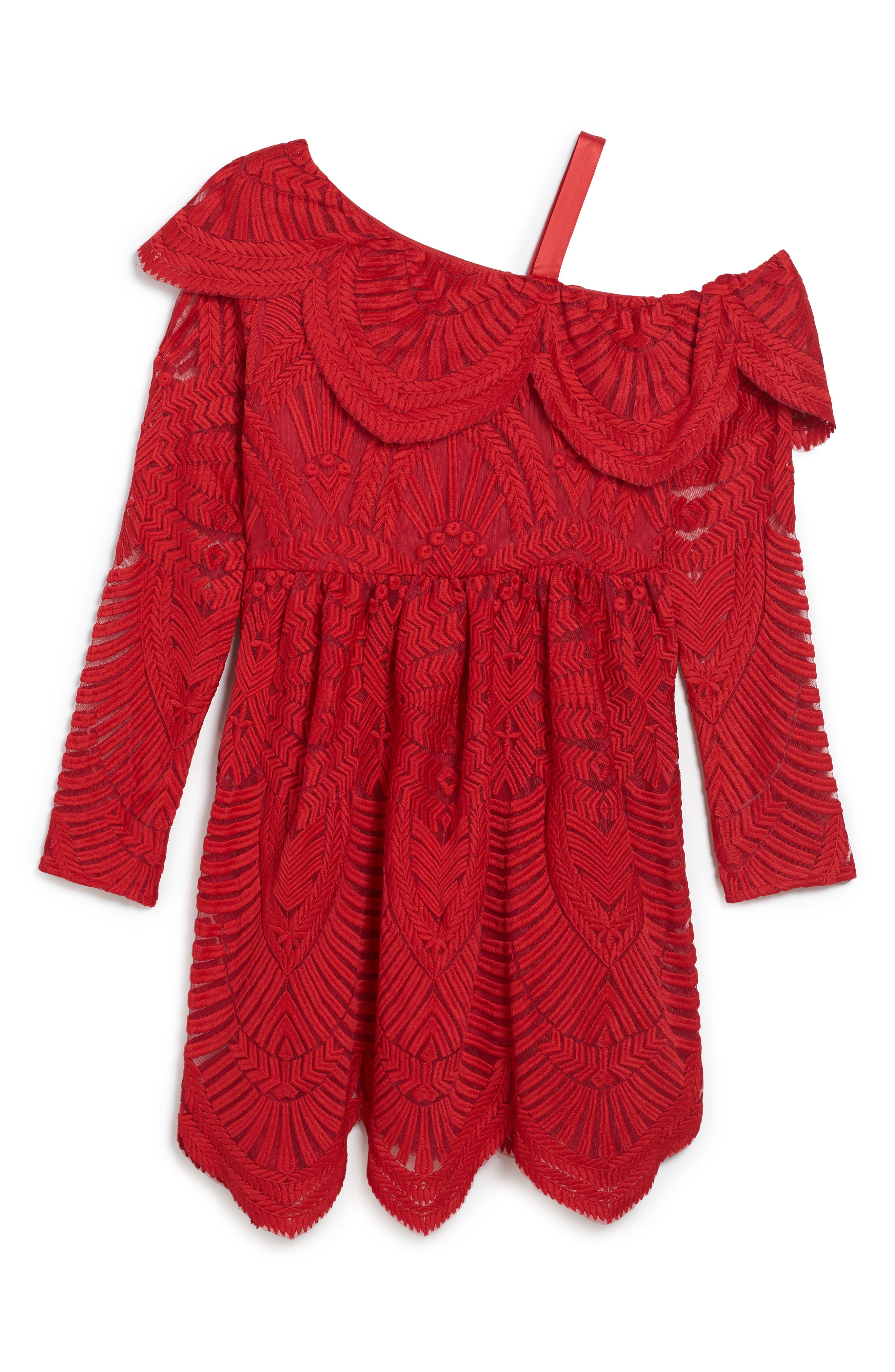 Sybil Lace Dress,                         Main,                         color, Red