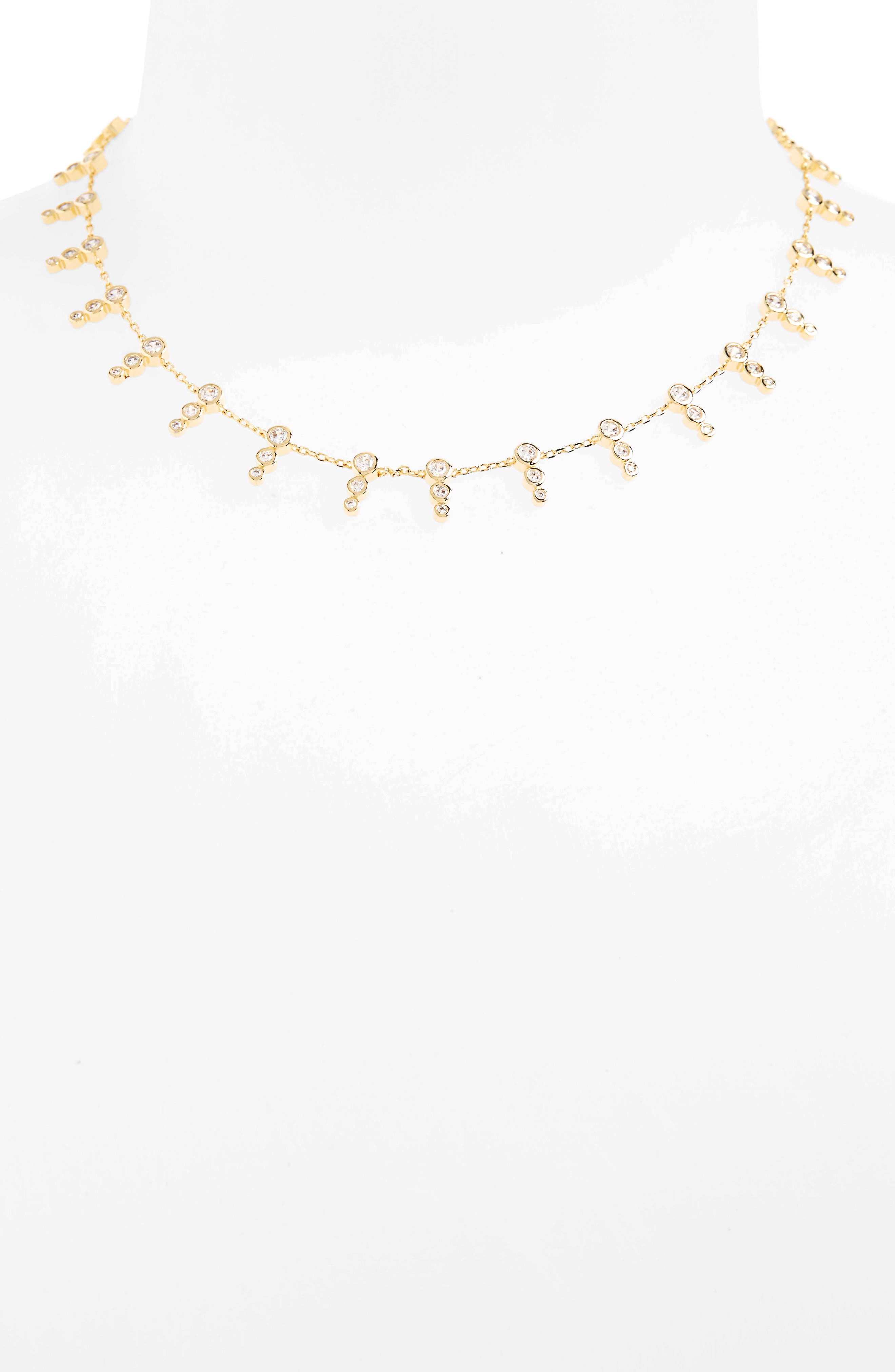 McPhee Cubic Zirconia Collar Necklace,                         Main,                         color, Gold
