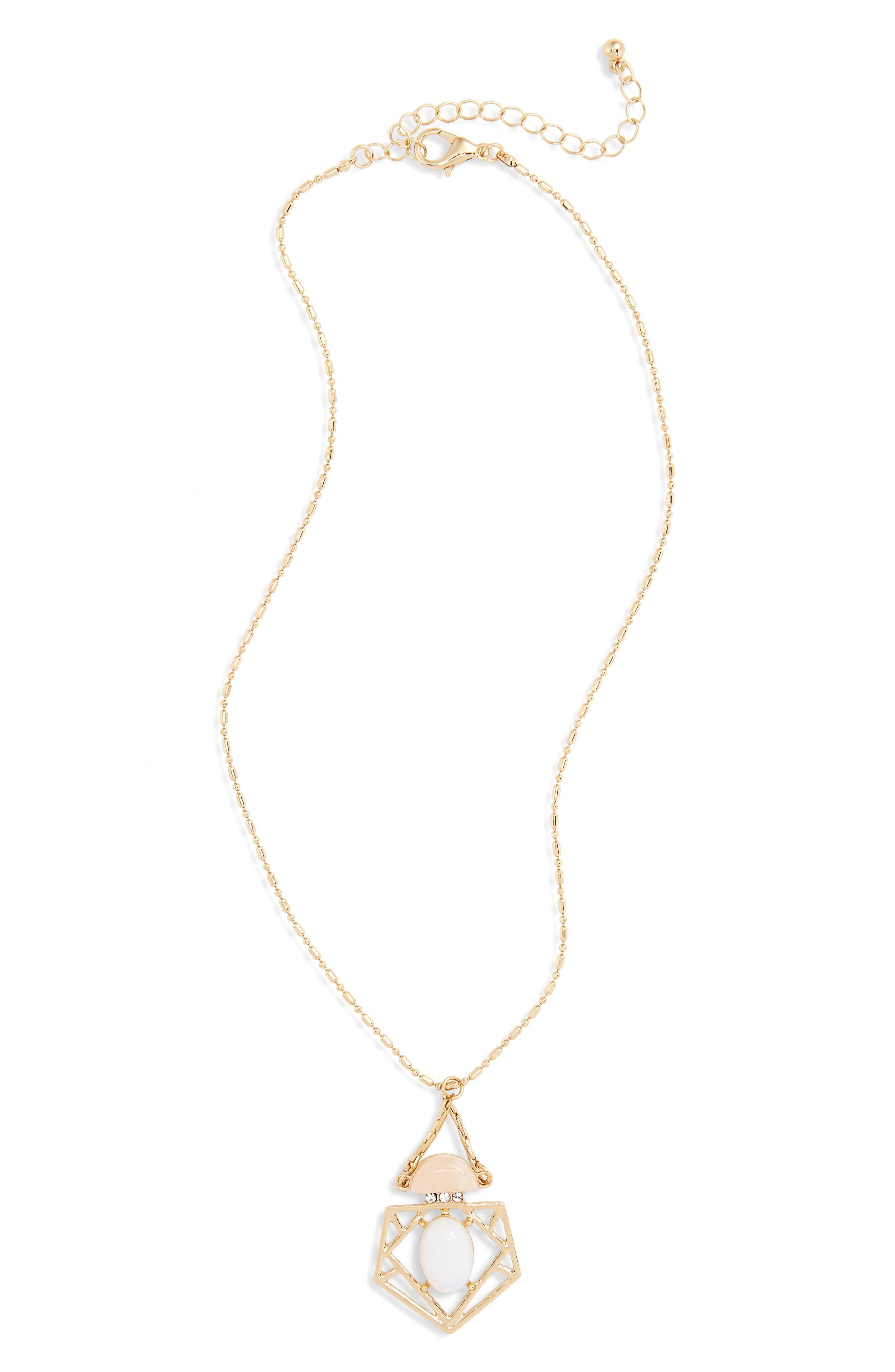 Quartz Geometric Pendant Necklace,                         Main,                         color, Gold