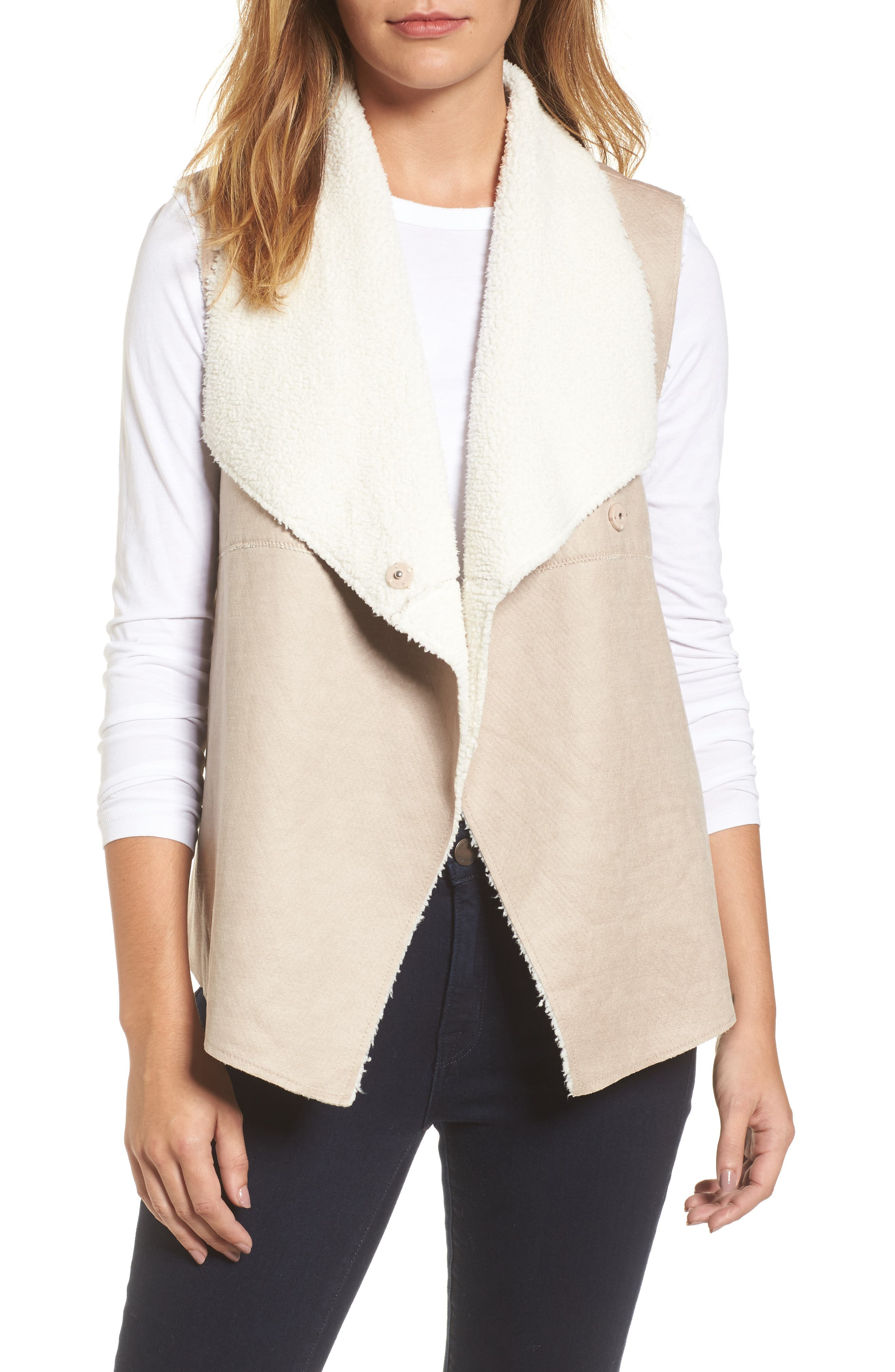 Faux Shearling Backed Knit Vest,                         Main,                         color, Beige