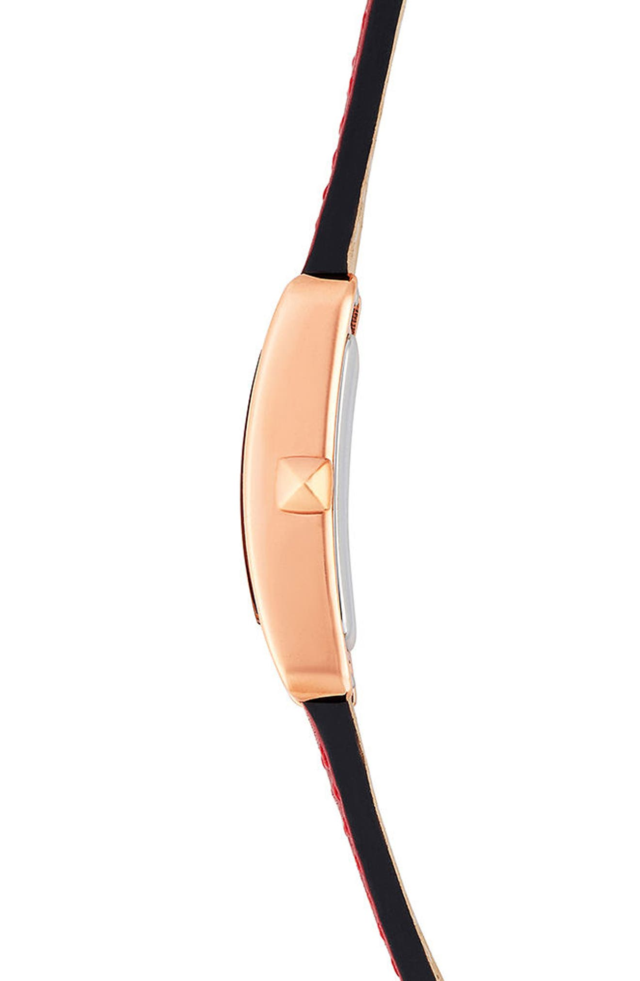 Moment Leather Strap Watch, 19mm x 30mm,                             Alternate thumbnail 2, color,                             Red/ Rose Gold