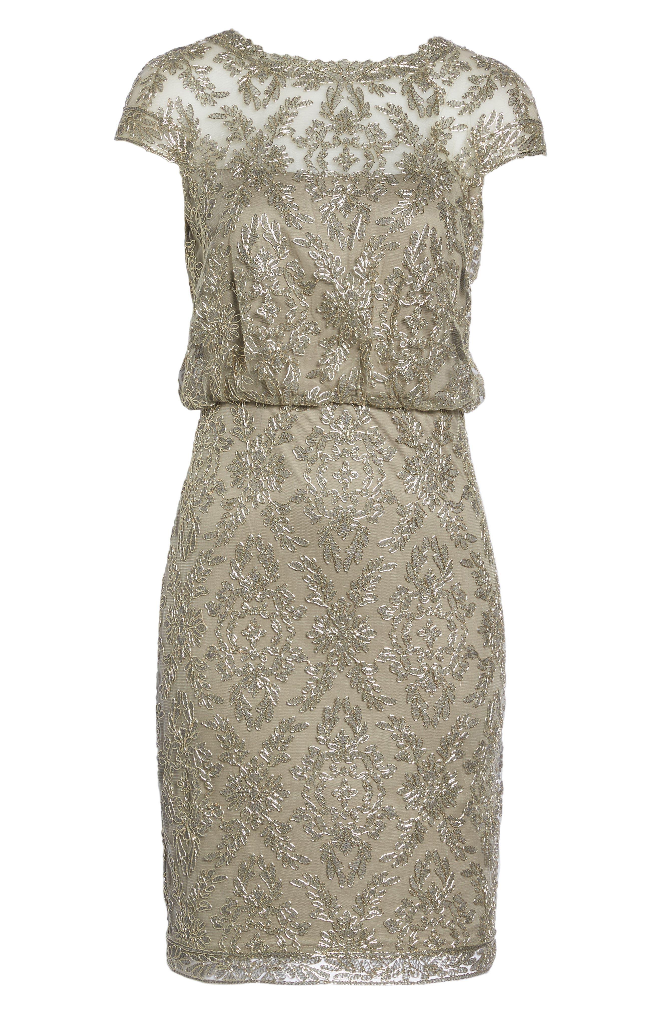 Embroidered Metallic Blouson Dress,                             Alternate thumbnail 6, color,                             Smoke Pearl