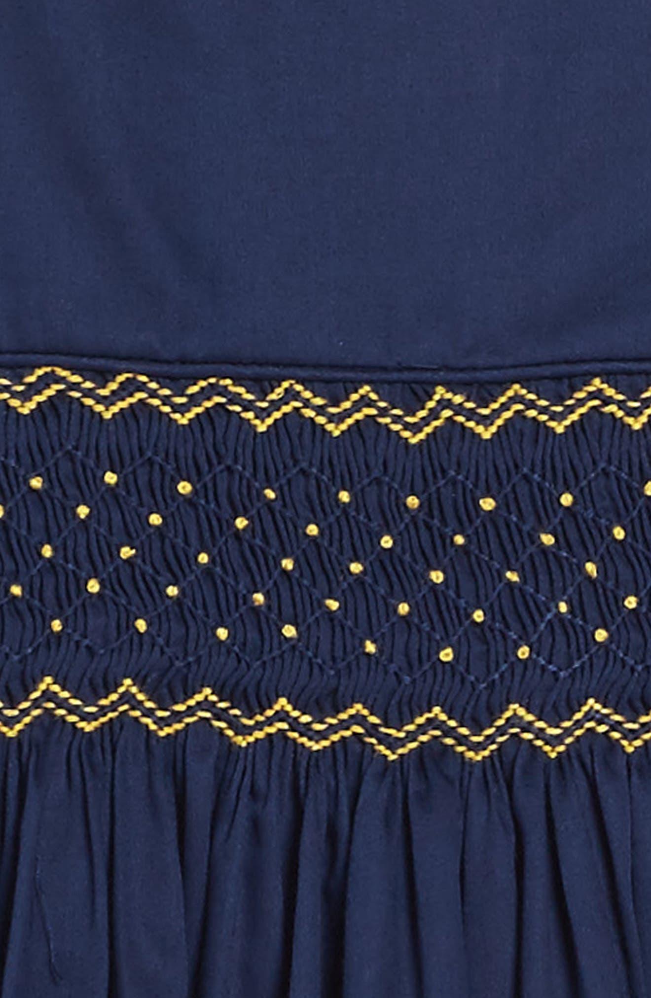 Smocked Dress,                             Alternate thumbnail 3, color,                             Navy/ Gold
