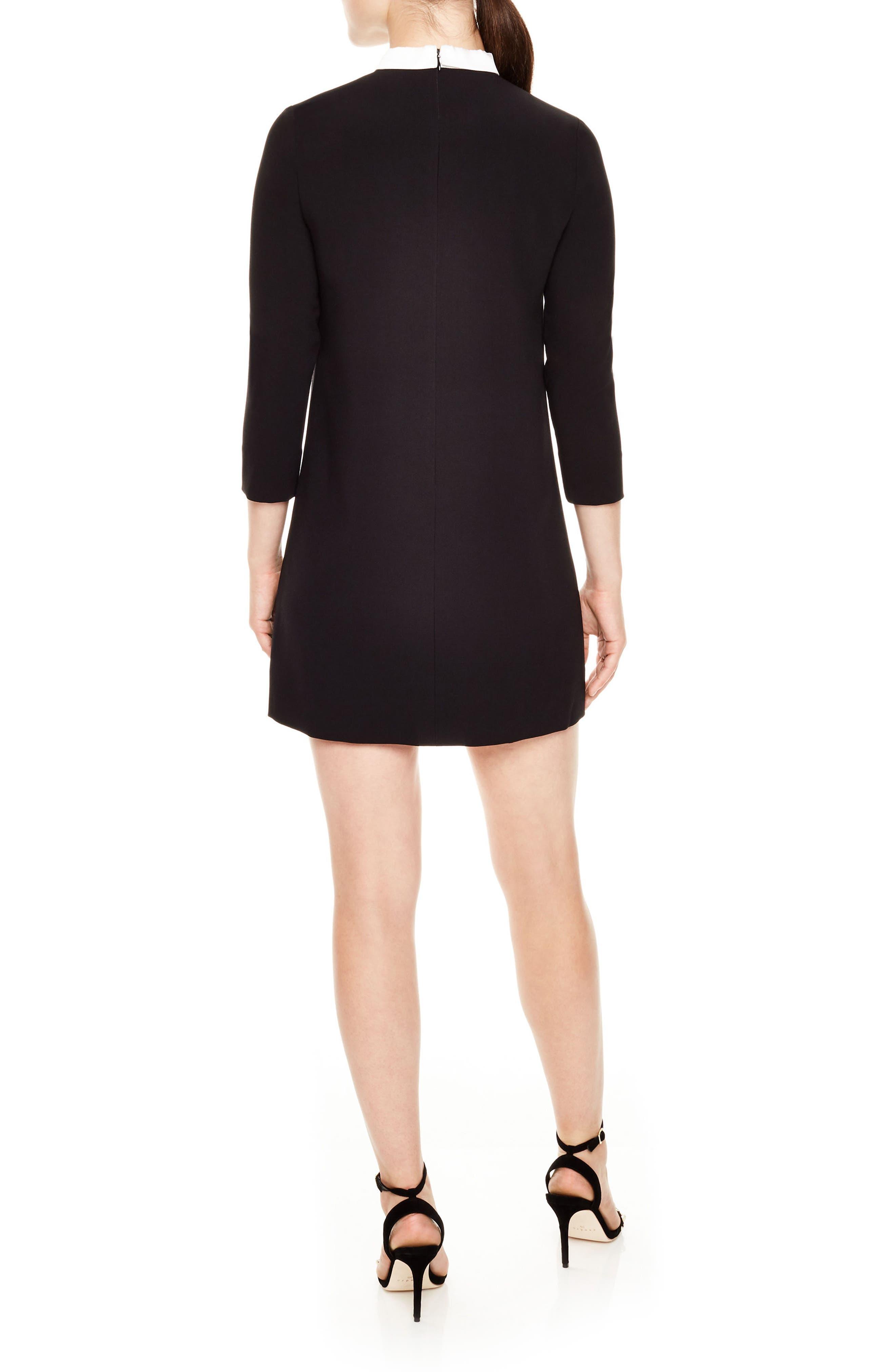 Delfina Lace Bib Shift Dress,                             Alternate thumbnail 2, color,                             Black