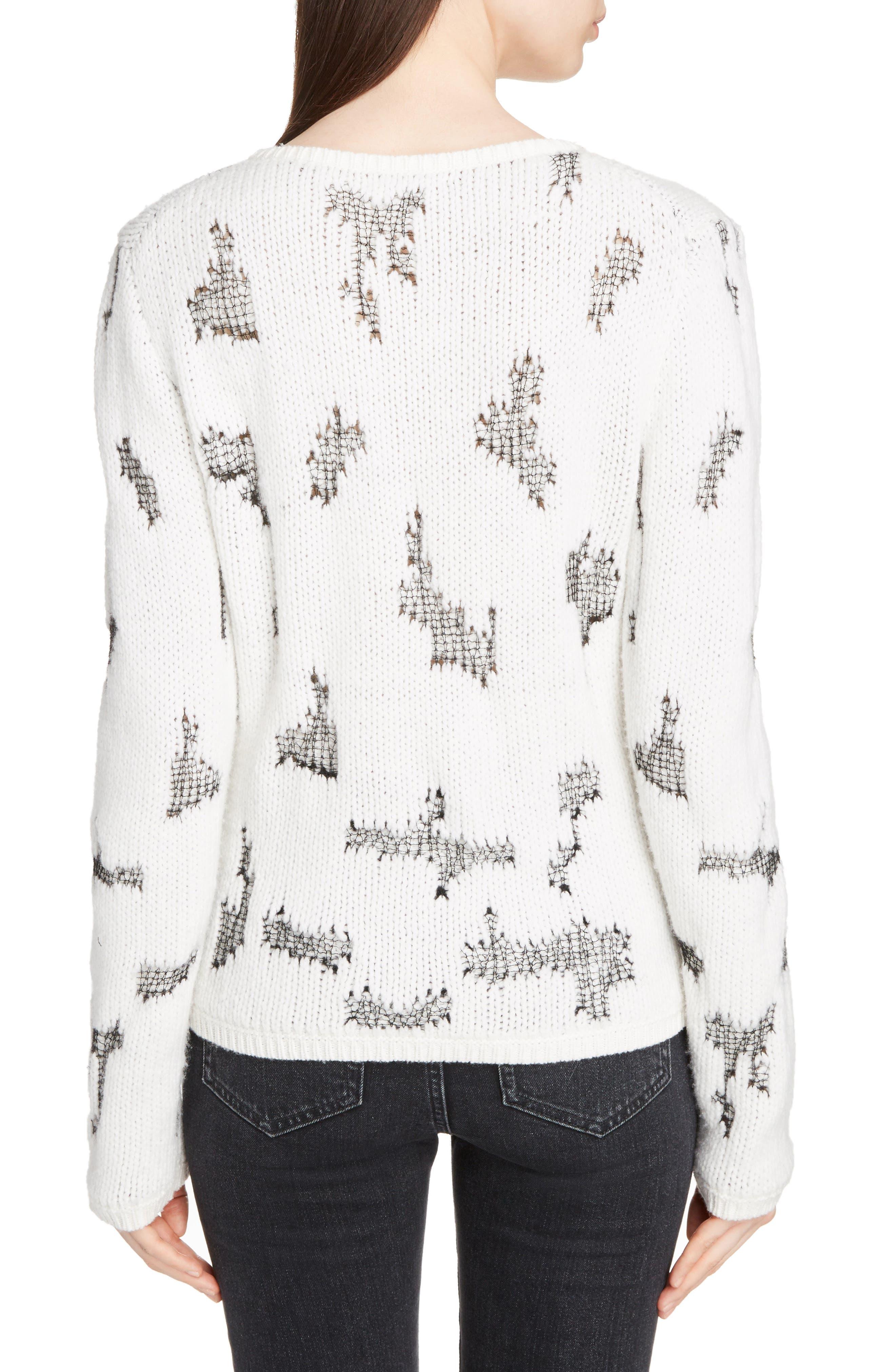 Distressed Cashmere Blend Sweater,                             Alternate thumbnail 2, color,                             Naturel/ Noir