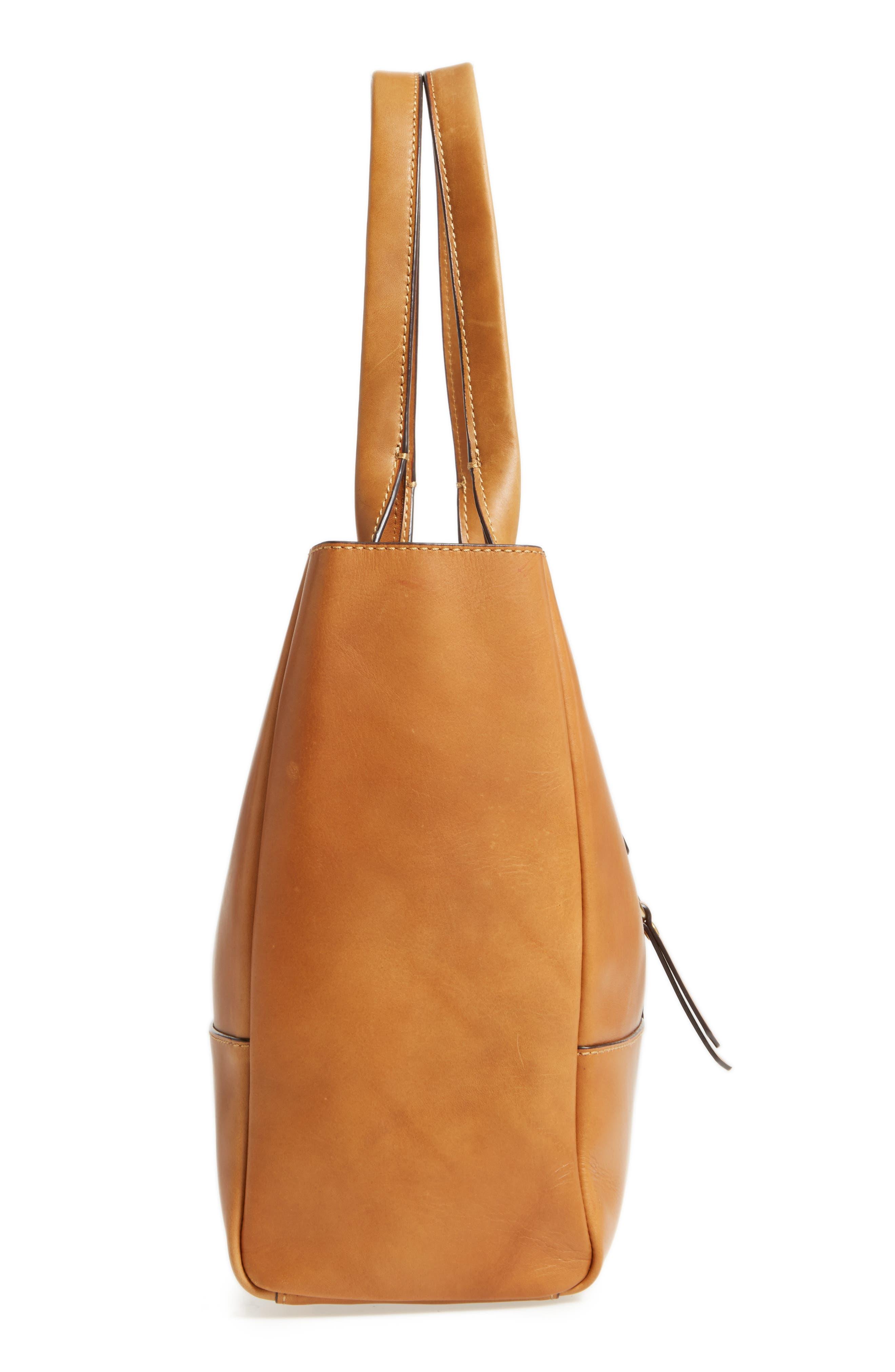 Ilana Harness Leather Shopper,                             Alternate thumbnail 5, color,                             Cognac