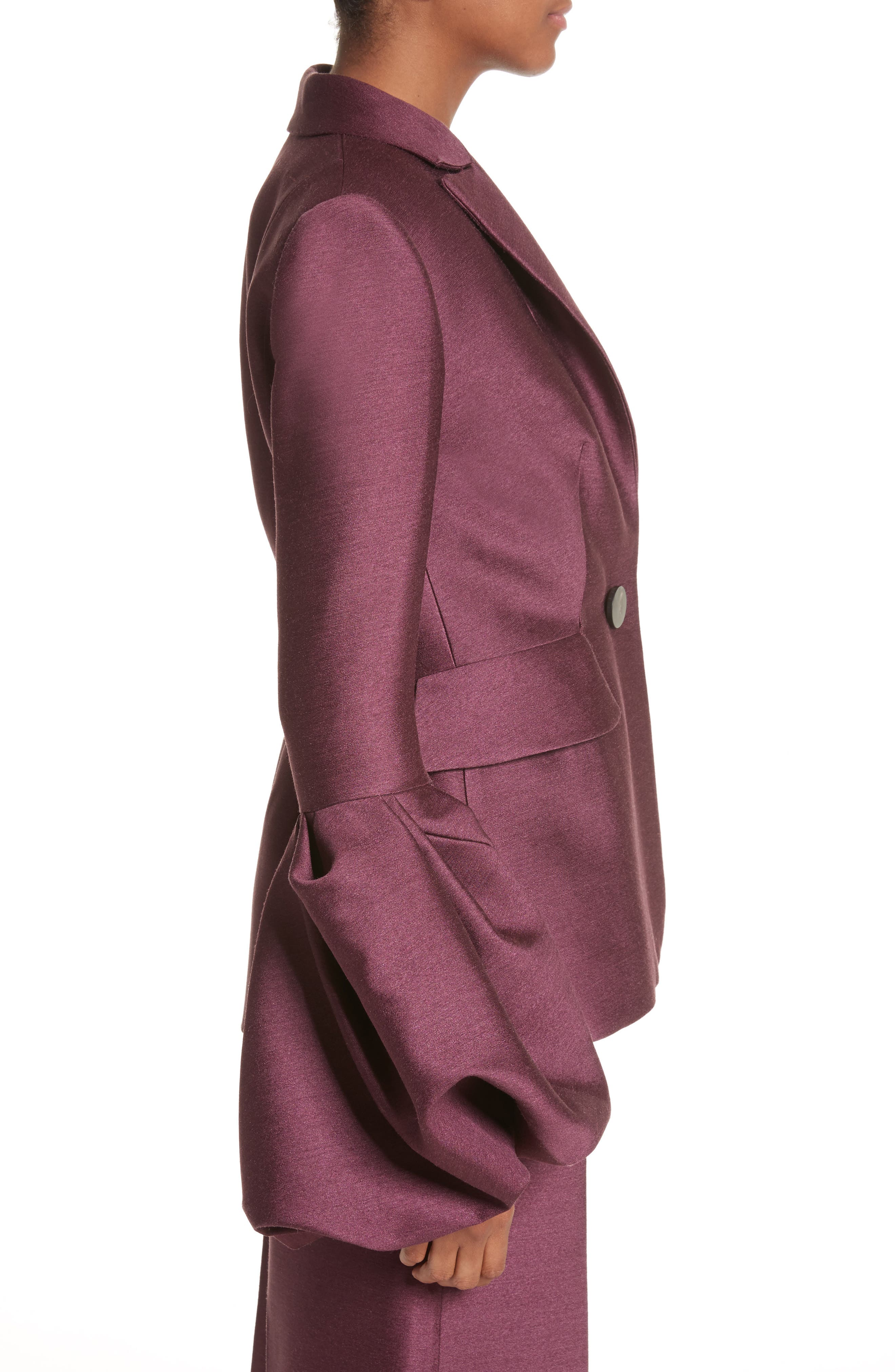 Narika Wool & Silk Jacket,                             Alternate thumbnail 4, color,                             Plum
