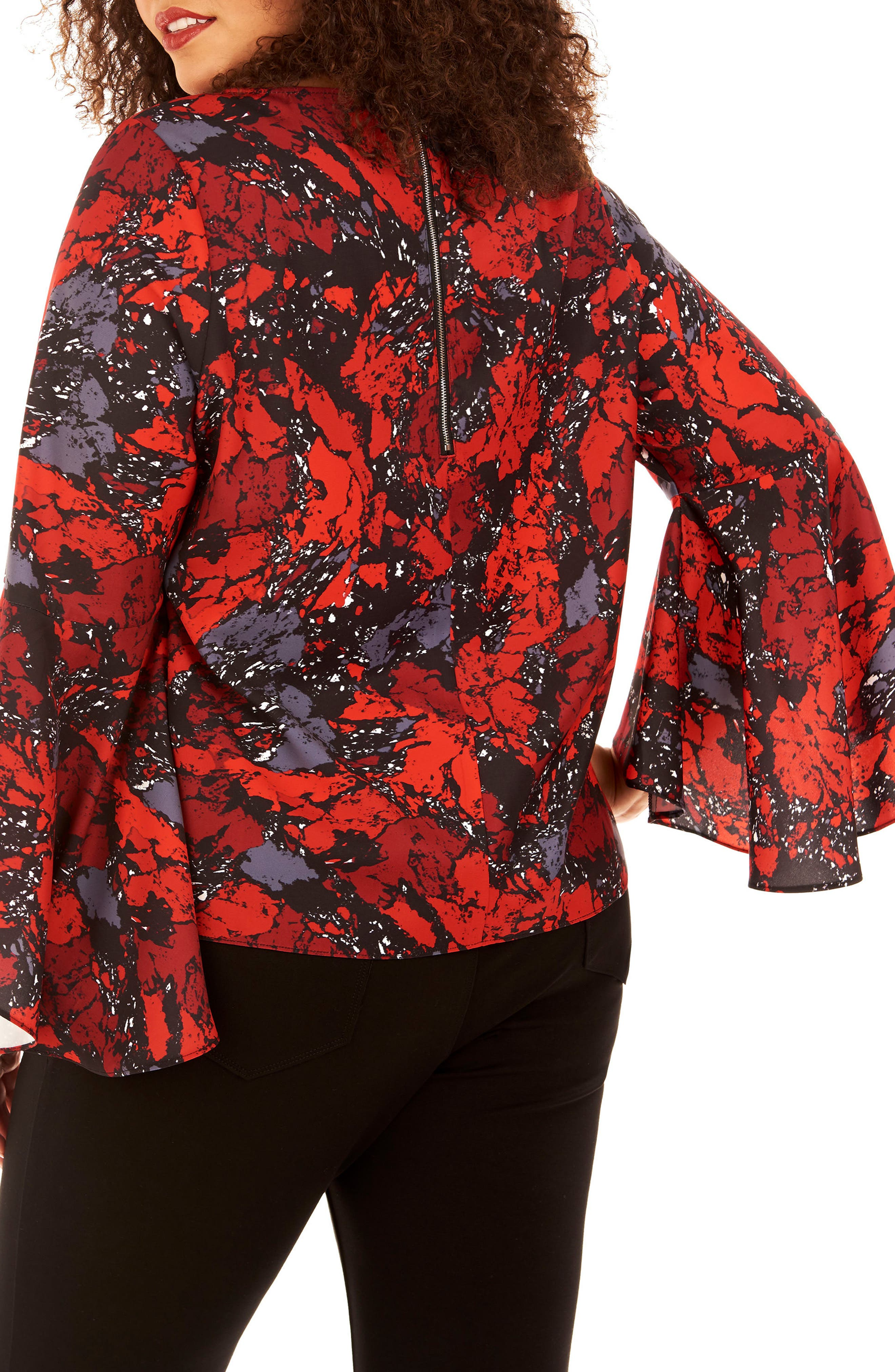 Bell Sleeve Top,                             Alternate thumbnail 2, color,                             Ruby Rock
