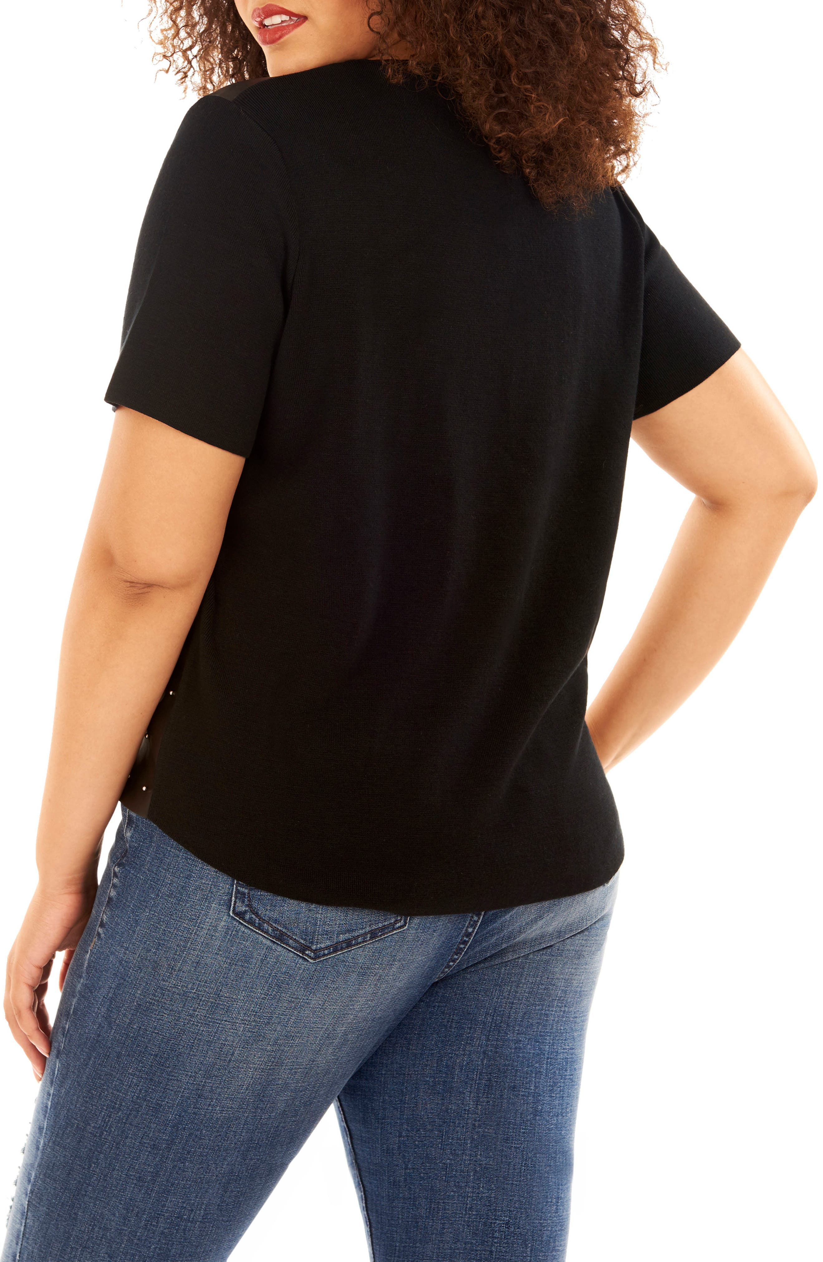 Studded Faux Leather Front Sweater,                             Alternate thumbnail 2, color,                             Black Beauty