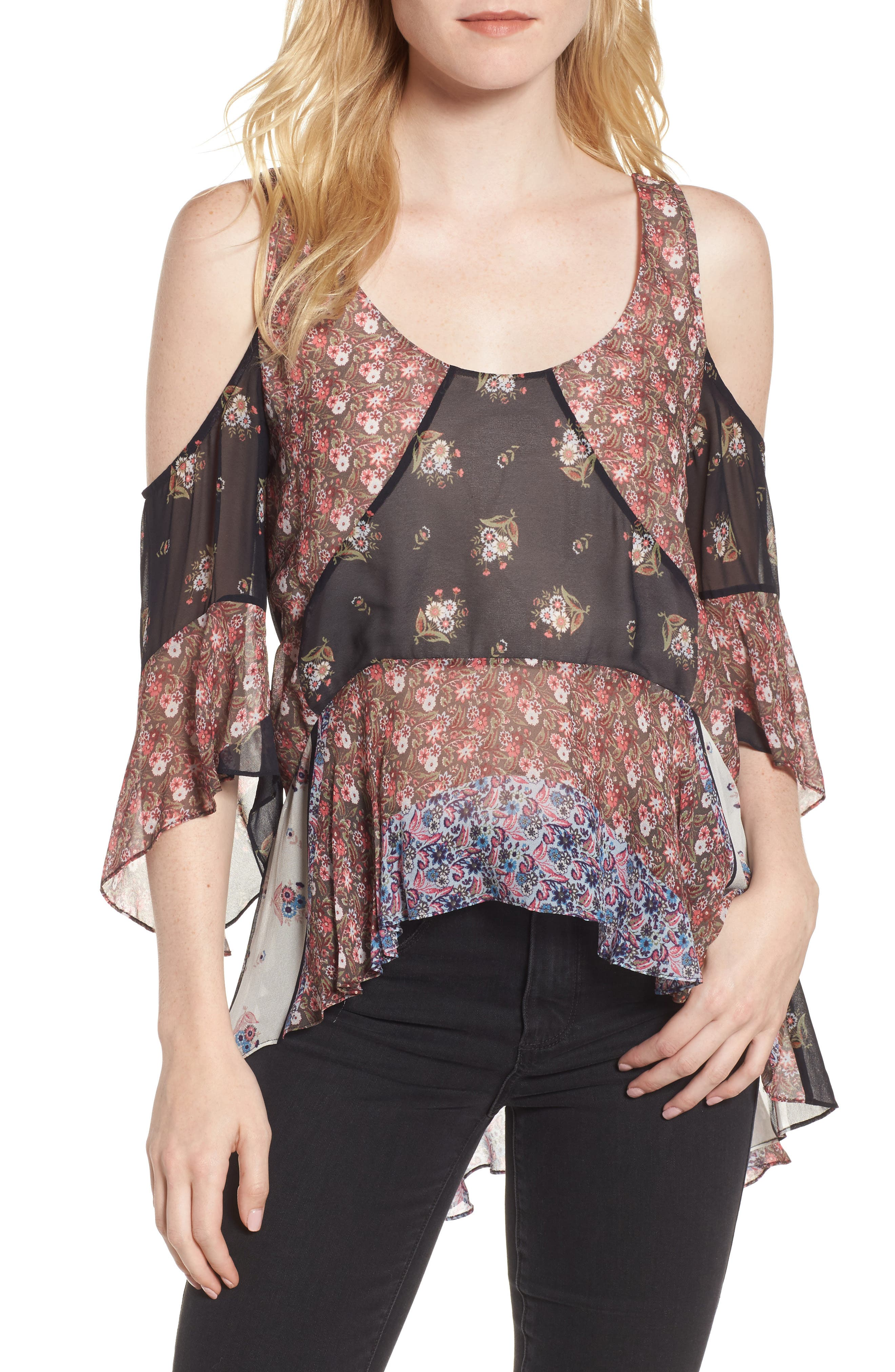 Chelsea Cold Shoulder Top,                             Main thumbnail 1, color,                             Ditsy Scarf Print