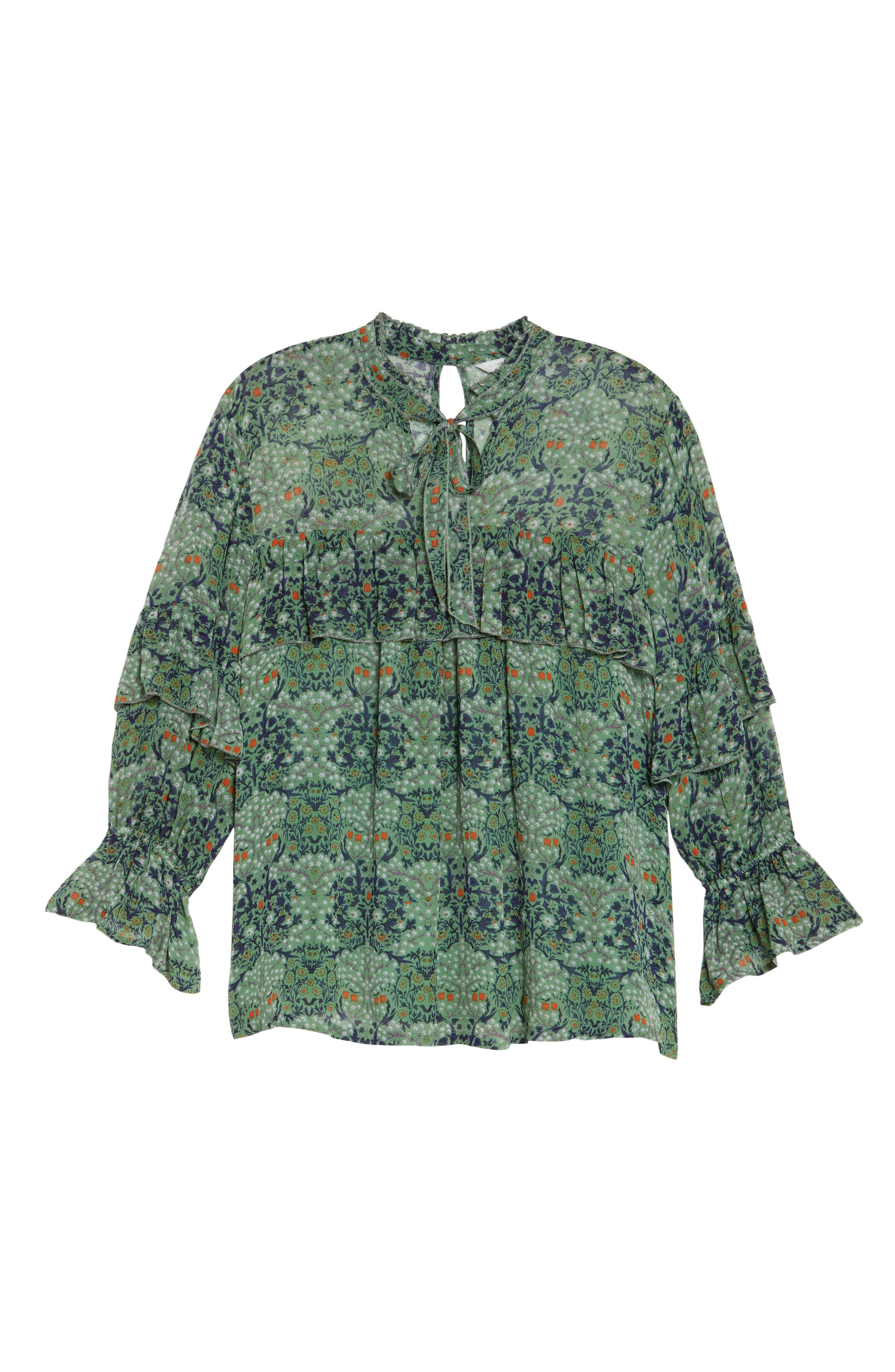 Ruffled Floral Blouse,                             Alternate thumbnail 6, color,                             Green Multi