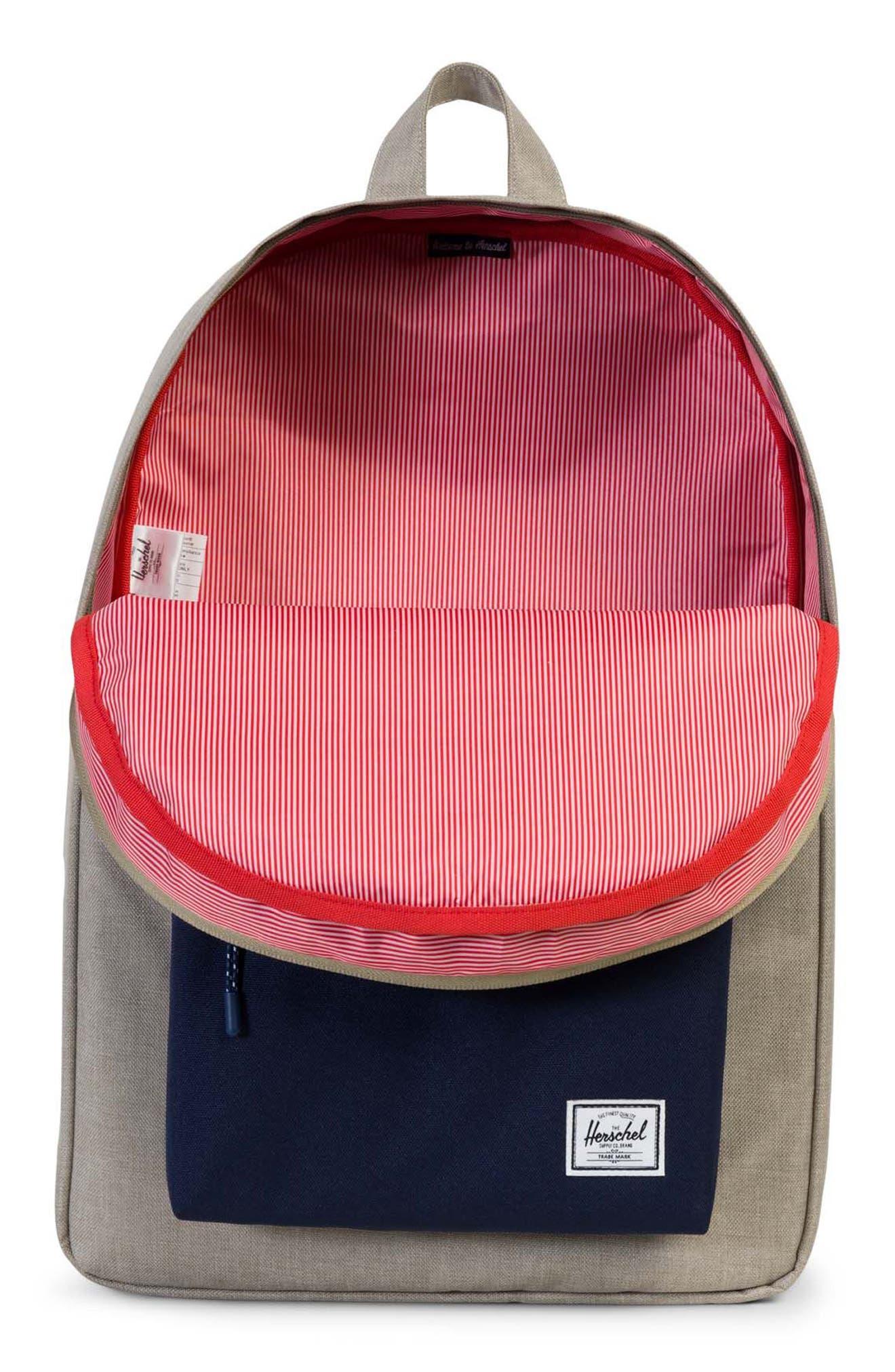 Classic Backpack,                             Alternate thumbnail 3, color,                             Light Khaki Crosshatch
