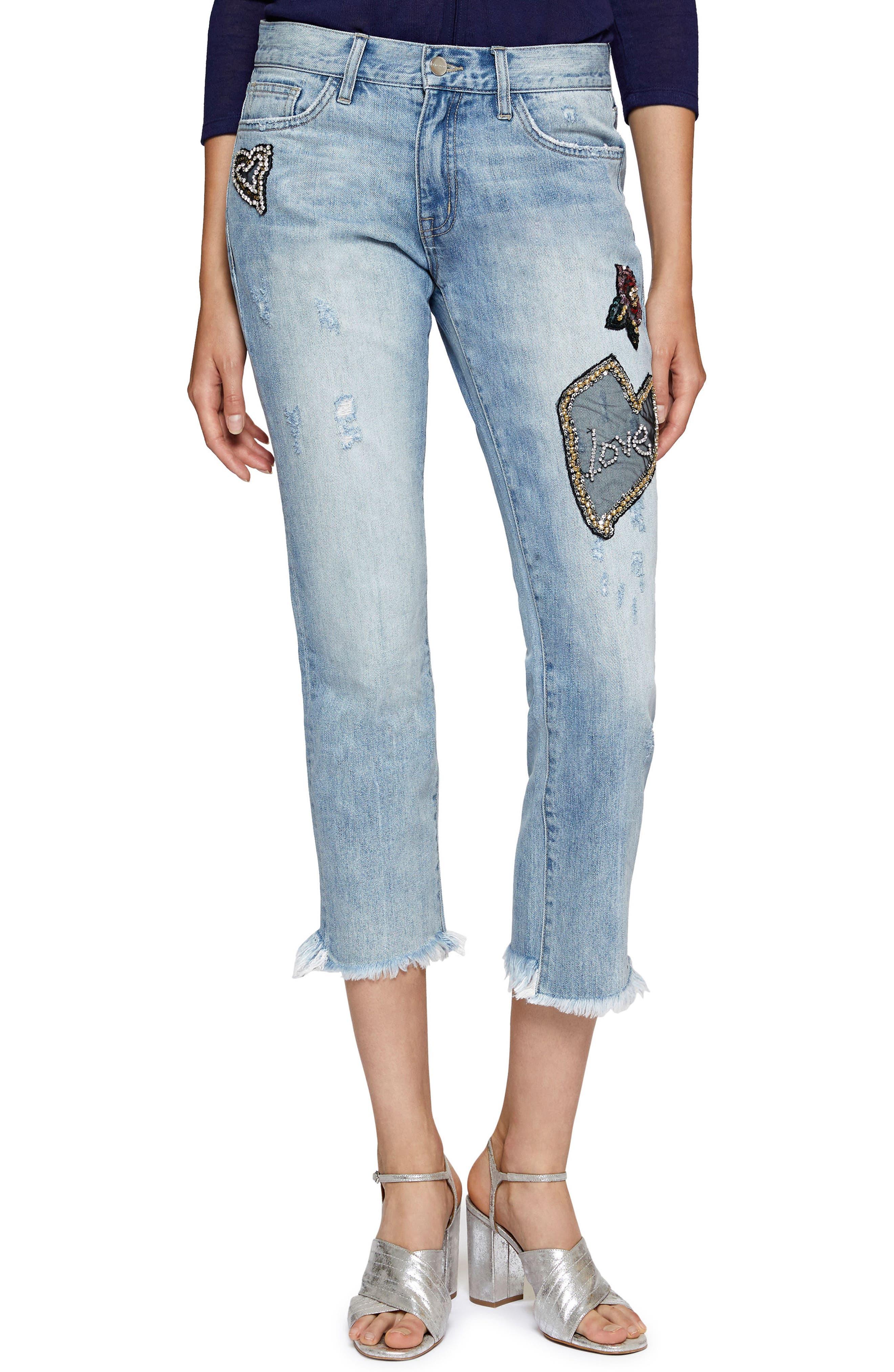 Alternate Image 1 Selected - Sanctuary Heartbreaker Patched Slim Boyfriend Jeans (Margaux)