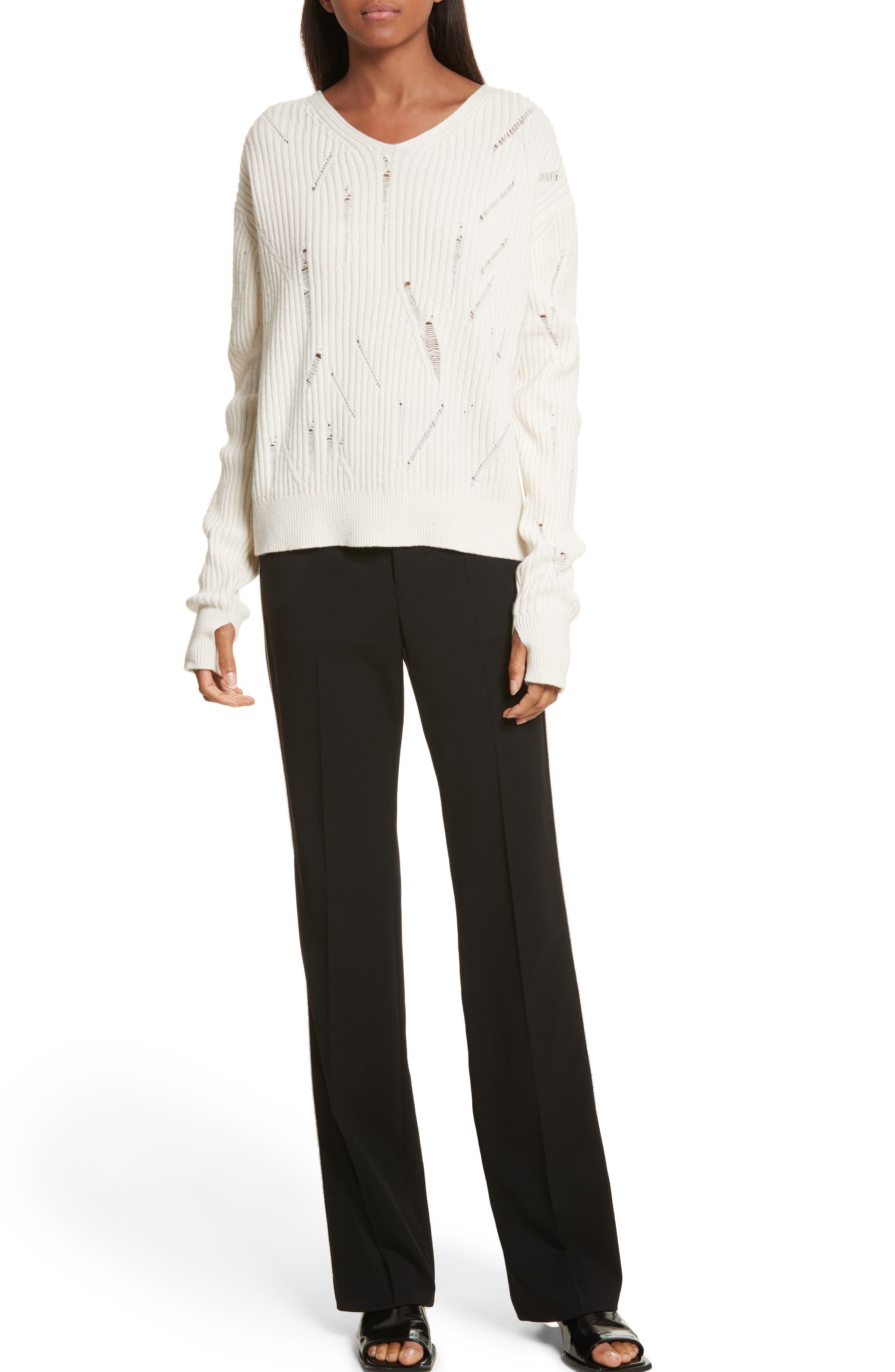 Side Zip Detail Suiting Pants,                             Alternate thumbnail 8, color,                             Black