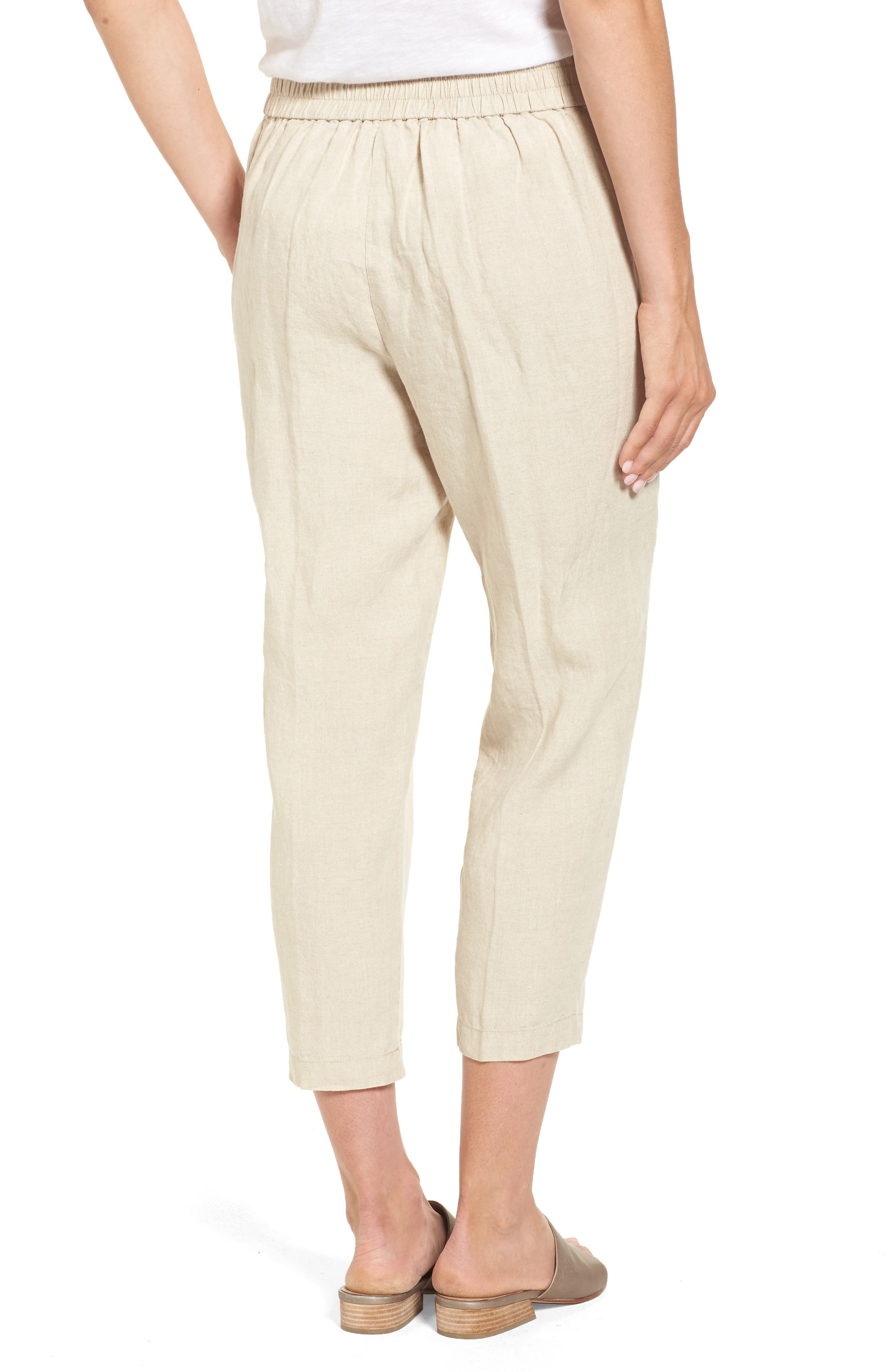 Organic Linen Crop Pants,                             Alternate thumbnail 2, color,                             Unnatural