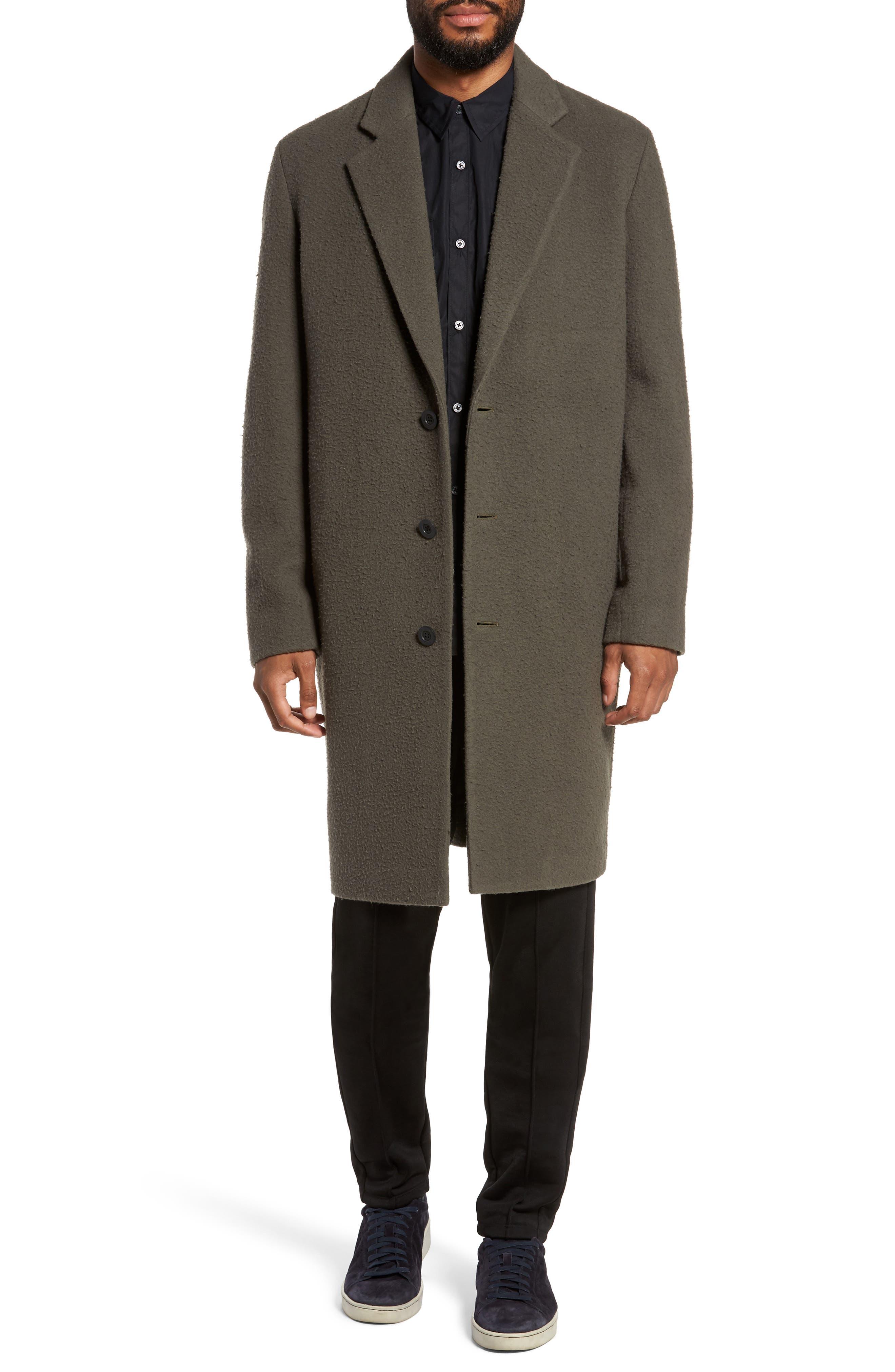 Distressed Wool Blend Car Coat,                             Main thumbnail 1, color,                             Olive
