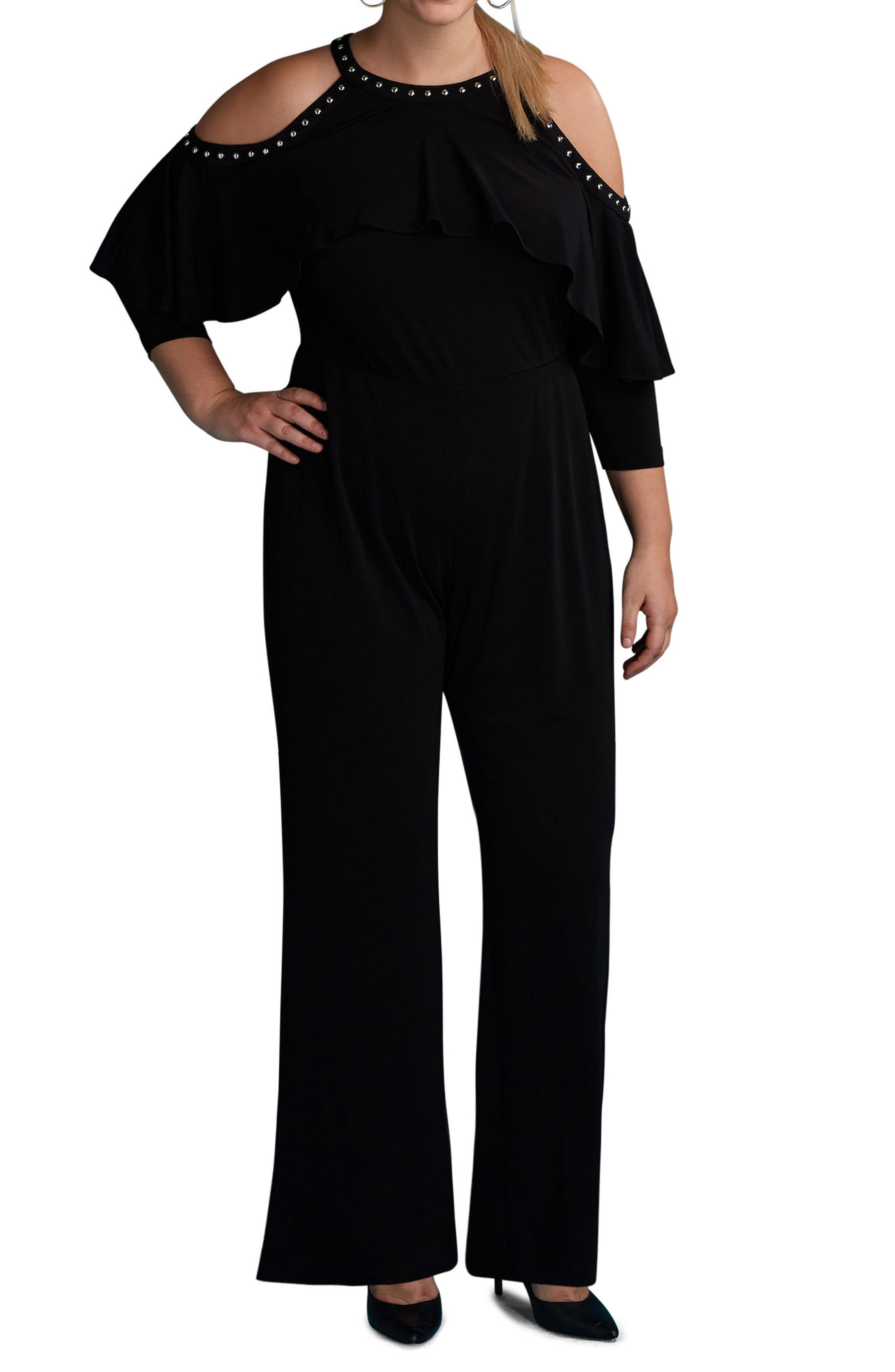 Main Image - ECI Cold Shoulder Ruffle Stud Jumpsuit (Plus Size)