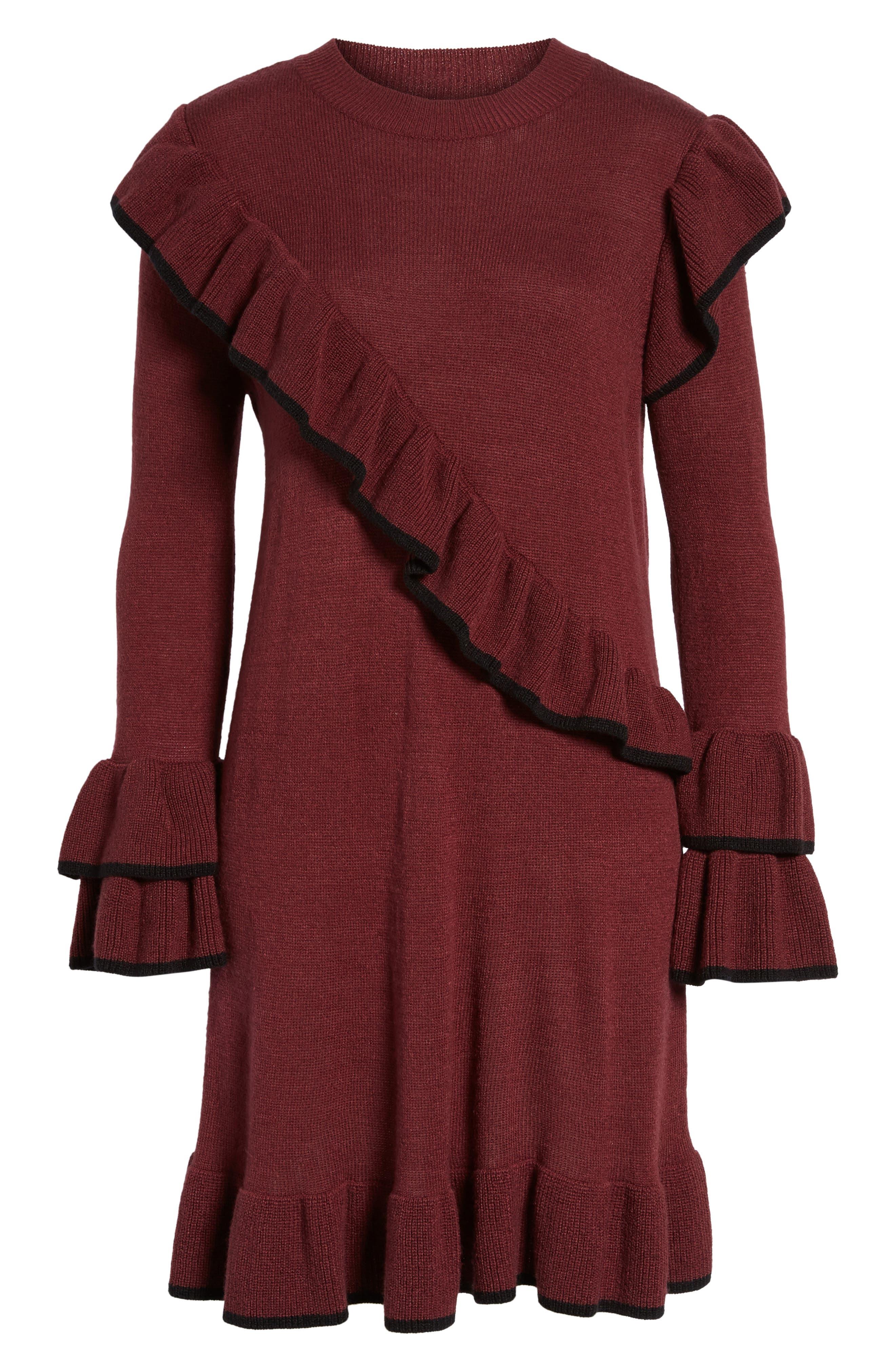 Ruffle Knit Sweater Dress,                             Alternate thumbnail 6, color,                             Burgundy Royale