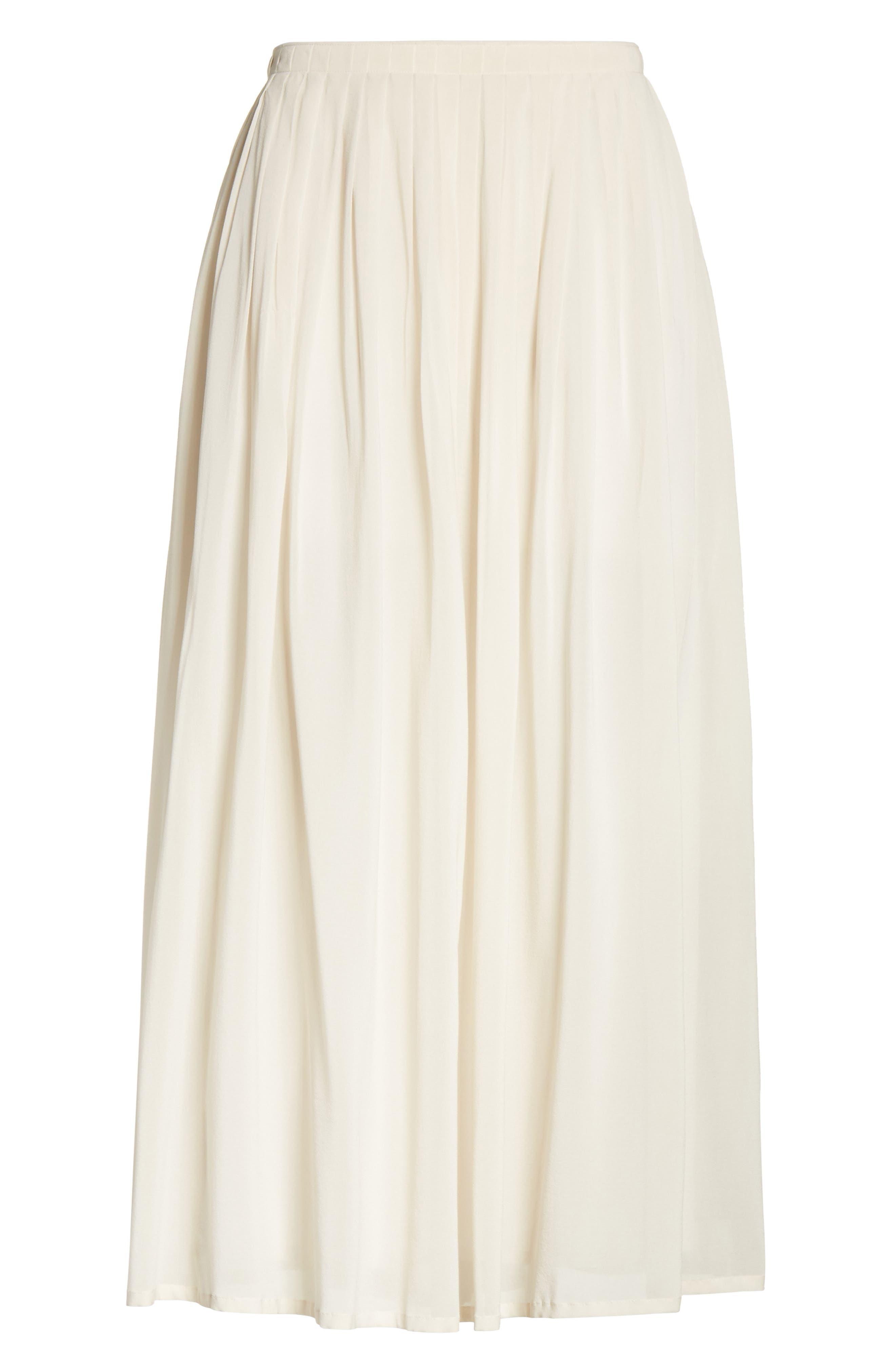 Pleated Chiffon Midi Skirt,                             Alternate thumbnail 8, color,                             Ecru