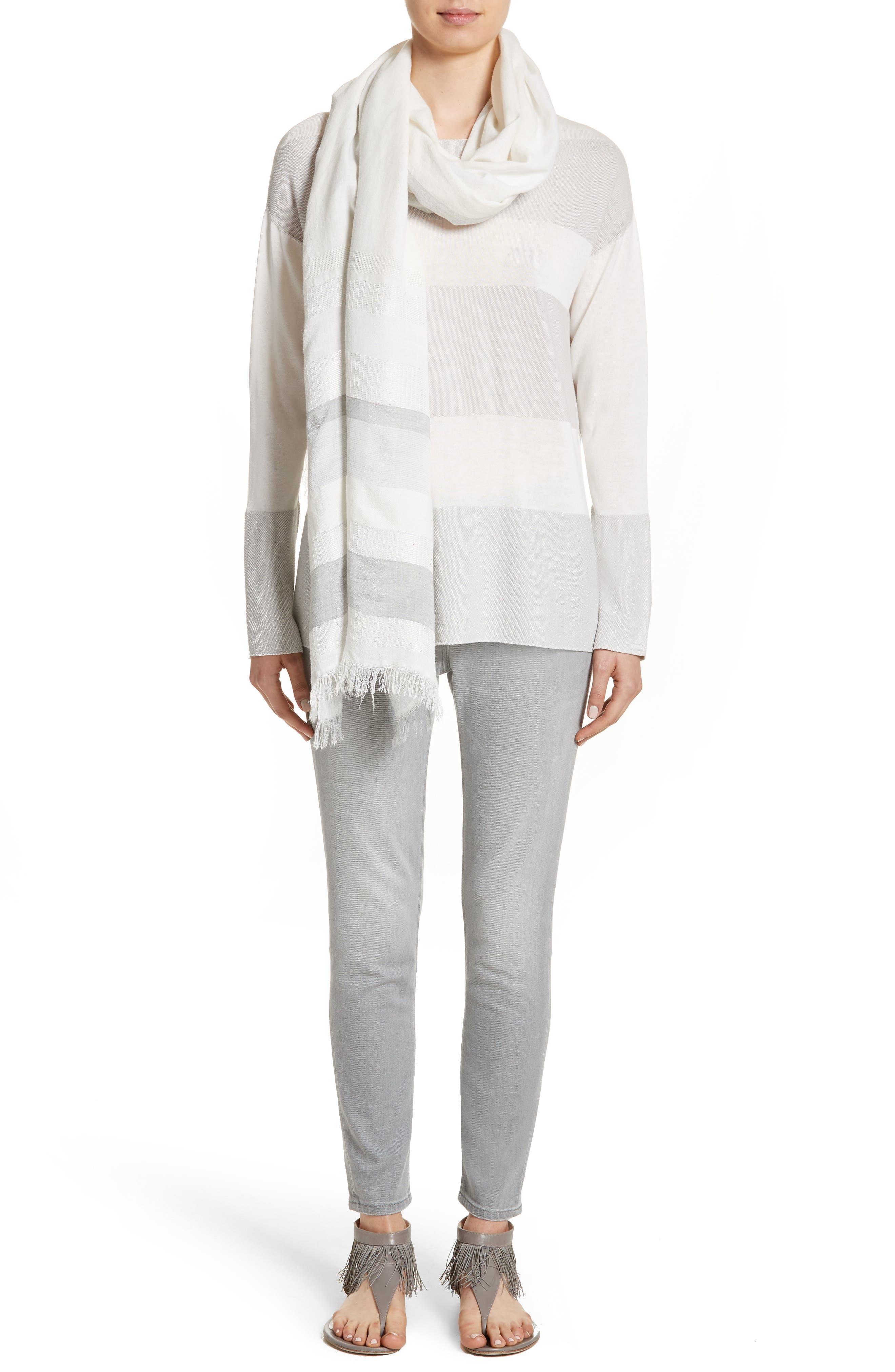 Alternate Image 8  - Fabiana Filippi Popcorn Stripe Metallic Knit Sweater
