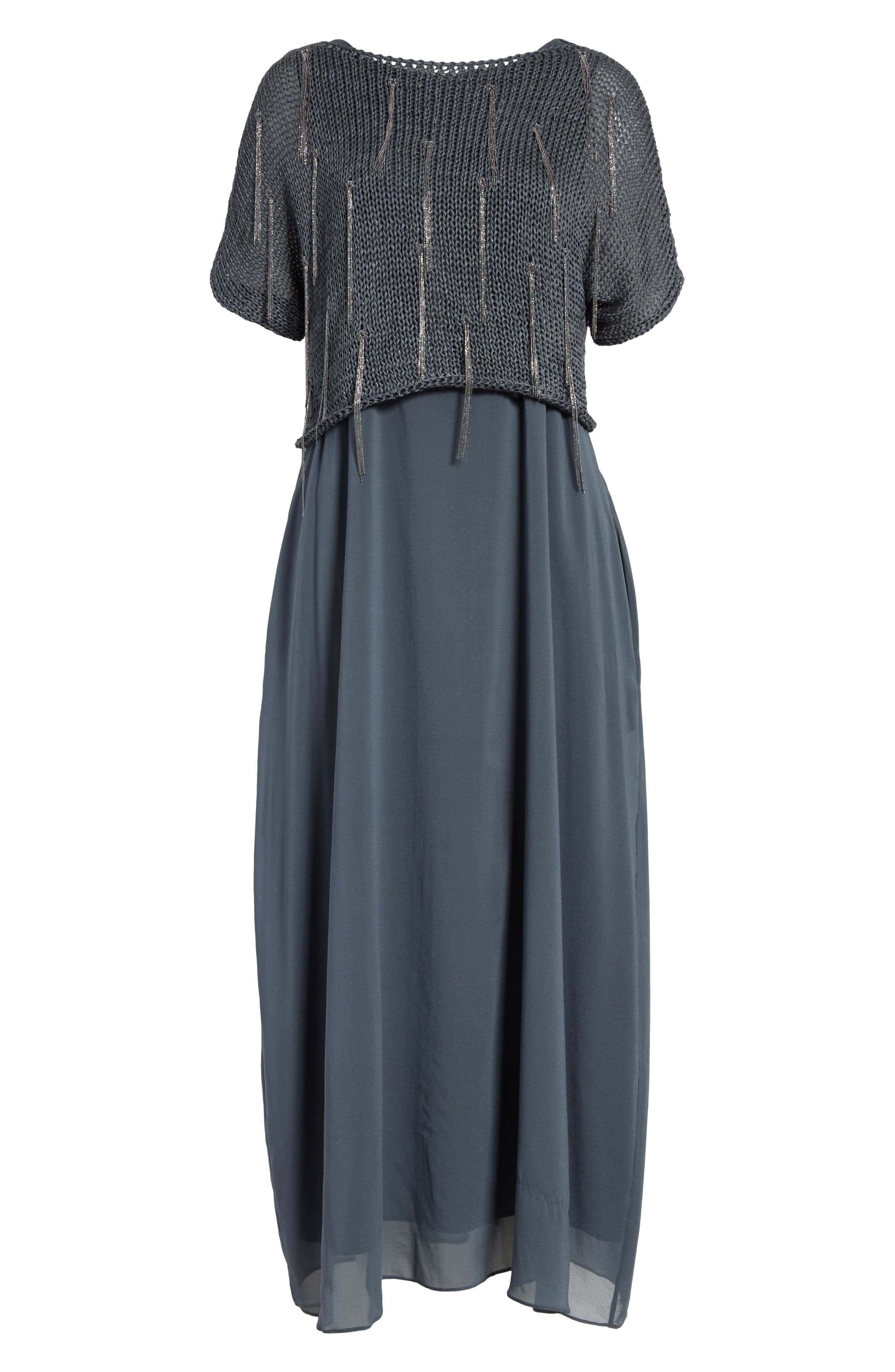 Knit Overlay Stretch Silk Dress,                             Alternate thumbnail 7, color,                             Slate