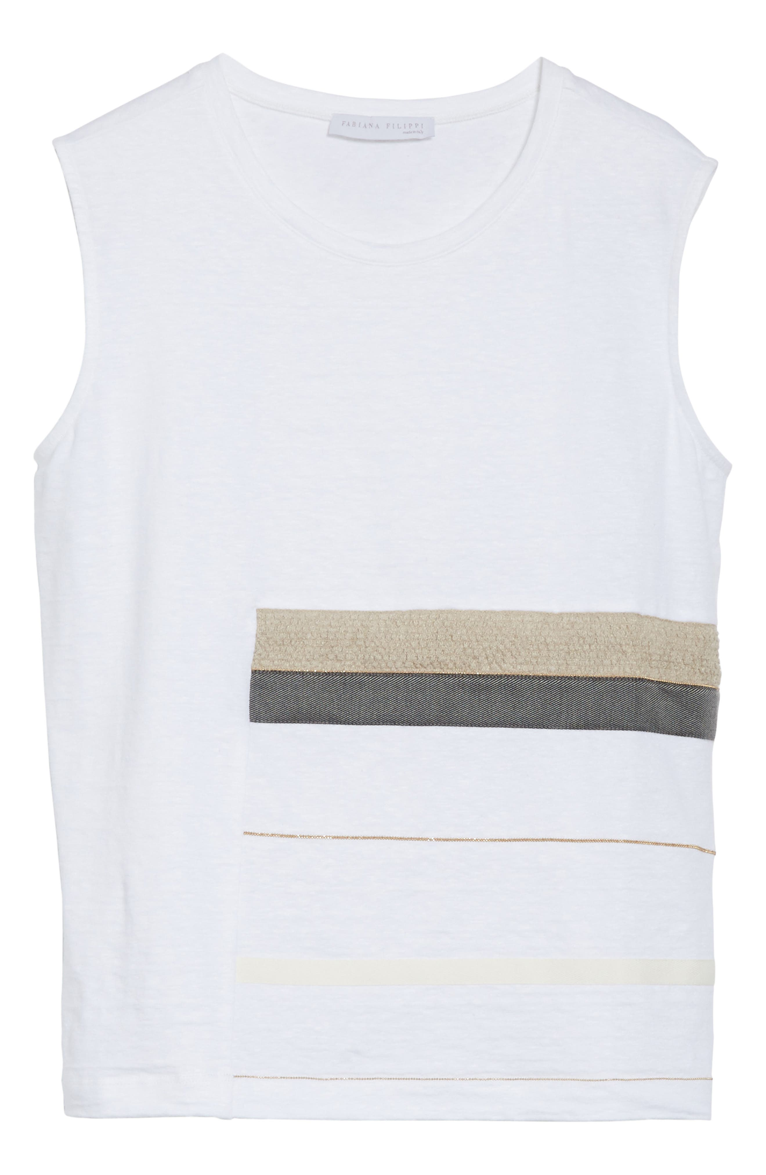 Mixed Media Tank,                             Alternate thumbnail 6, color,                             Pure White
