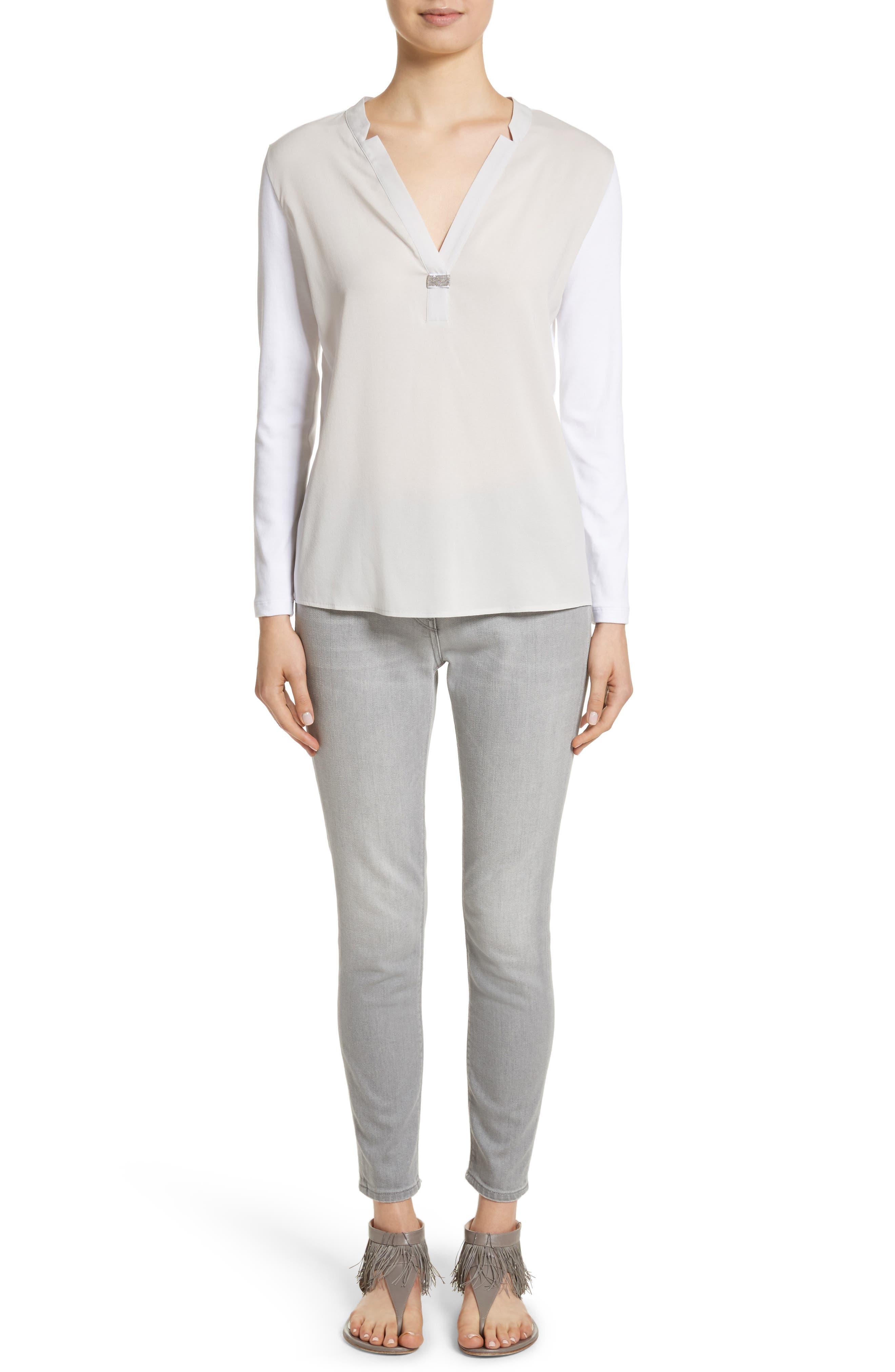 Crêpe de Chine & Ribbed Jersey Blouse,                             Alternate thumbnail 9, color,                             Pearl Grey