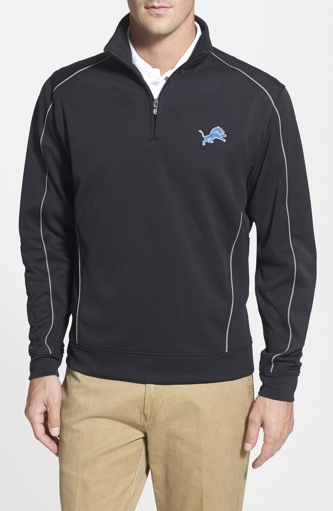 Detroit Lions - Edge DryTec Moisture Wicking Half Zip Pullover,                             Main thumbnail 1, color,                             Black