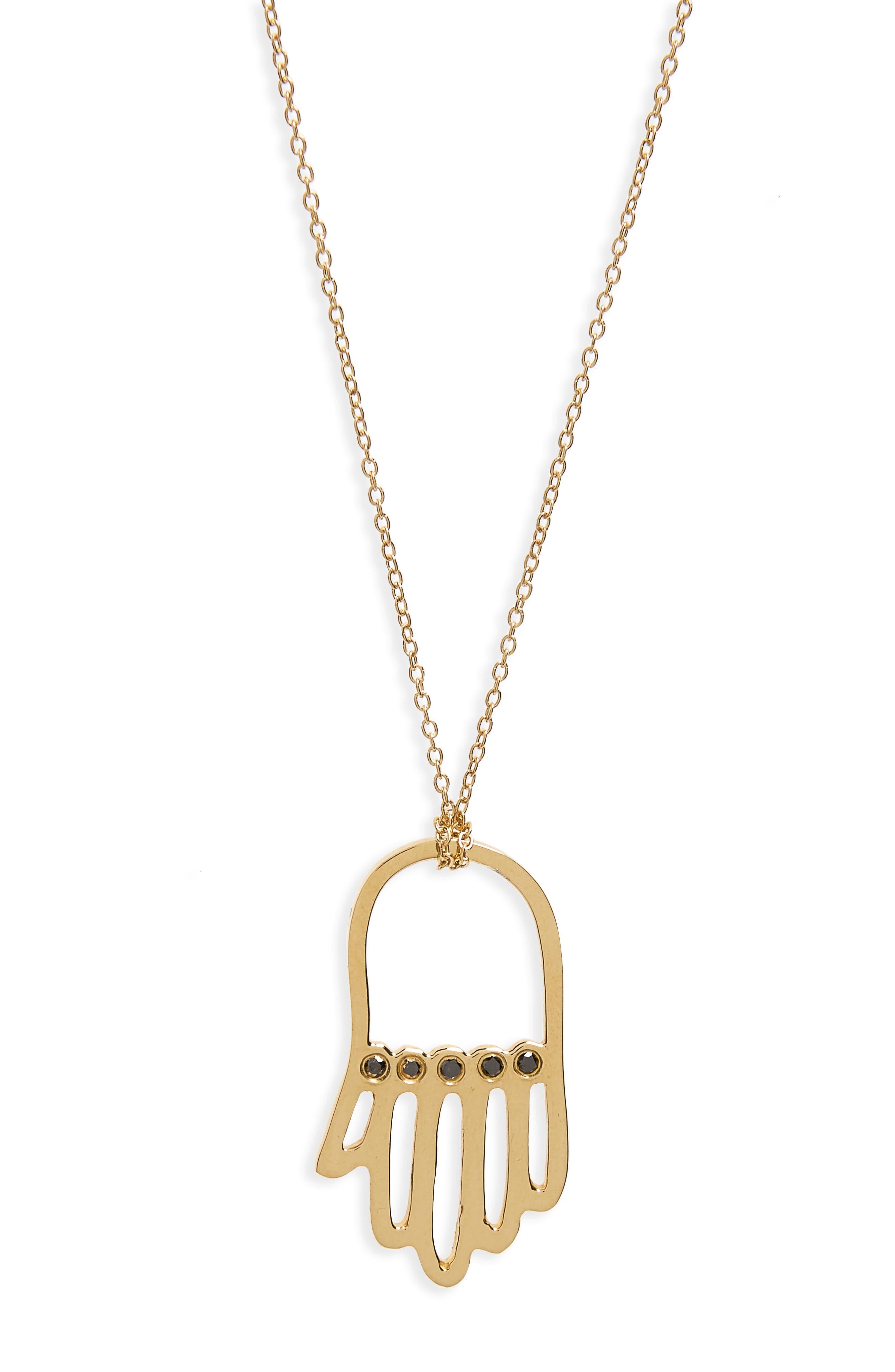 ICONERY X Rashida Jones Black Diamond Hamsa Pendant Necklace in Yellow Gold