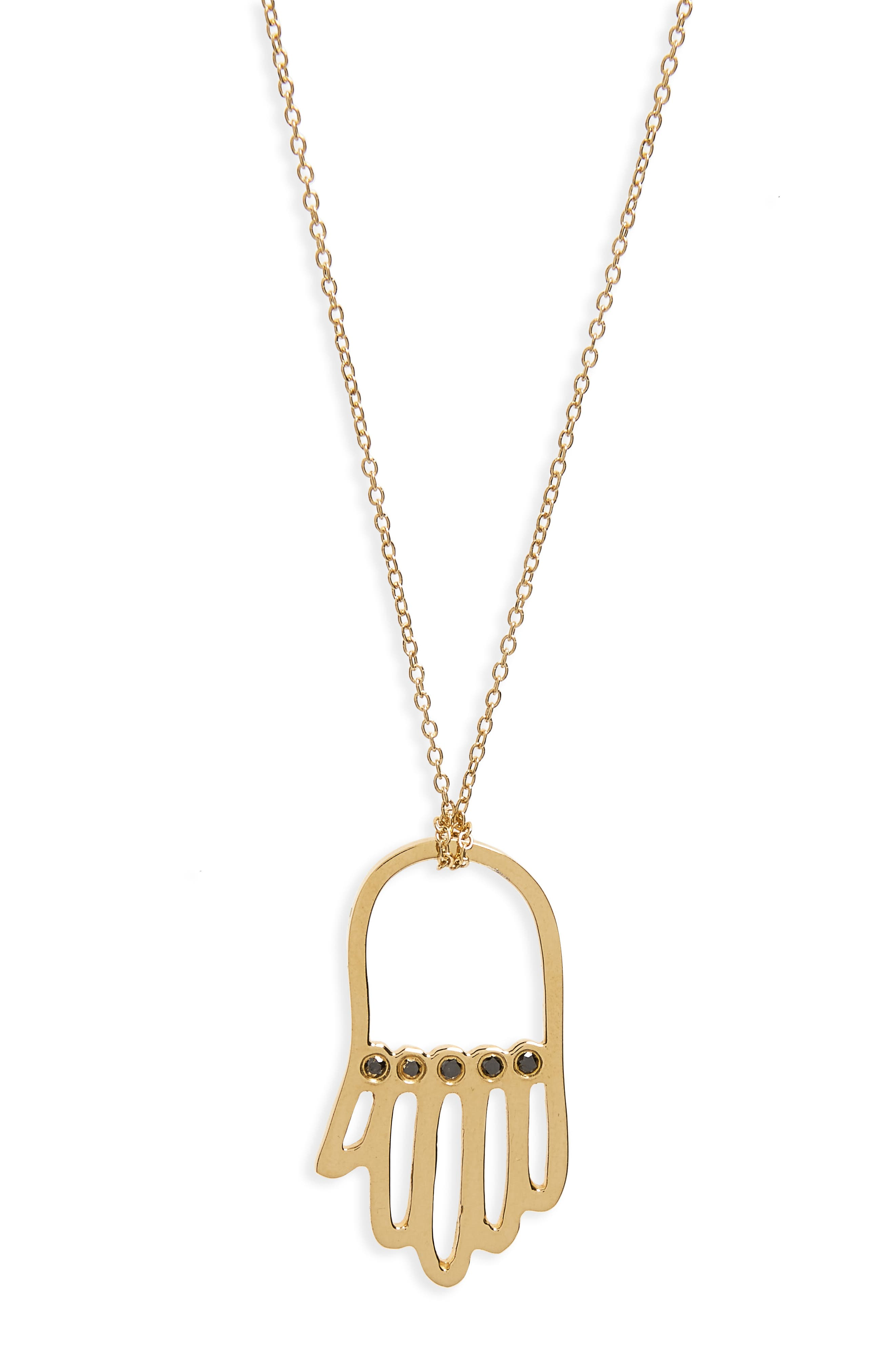 x Rashida Jones Black Diamond Hamsa Pendant Necklace,                         Main,                         color, Yellow Gold
