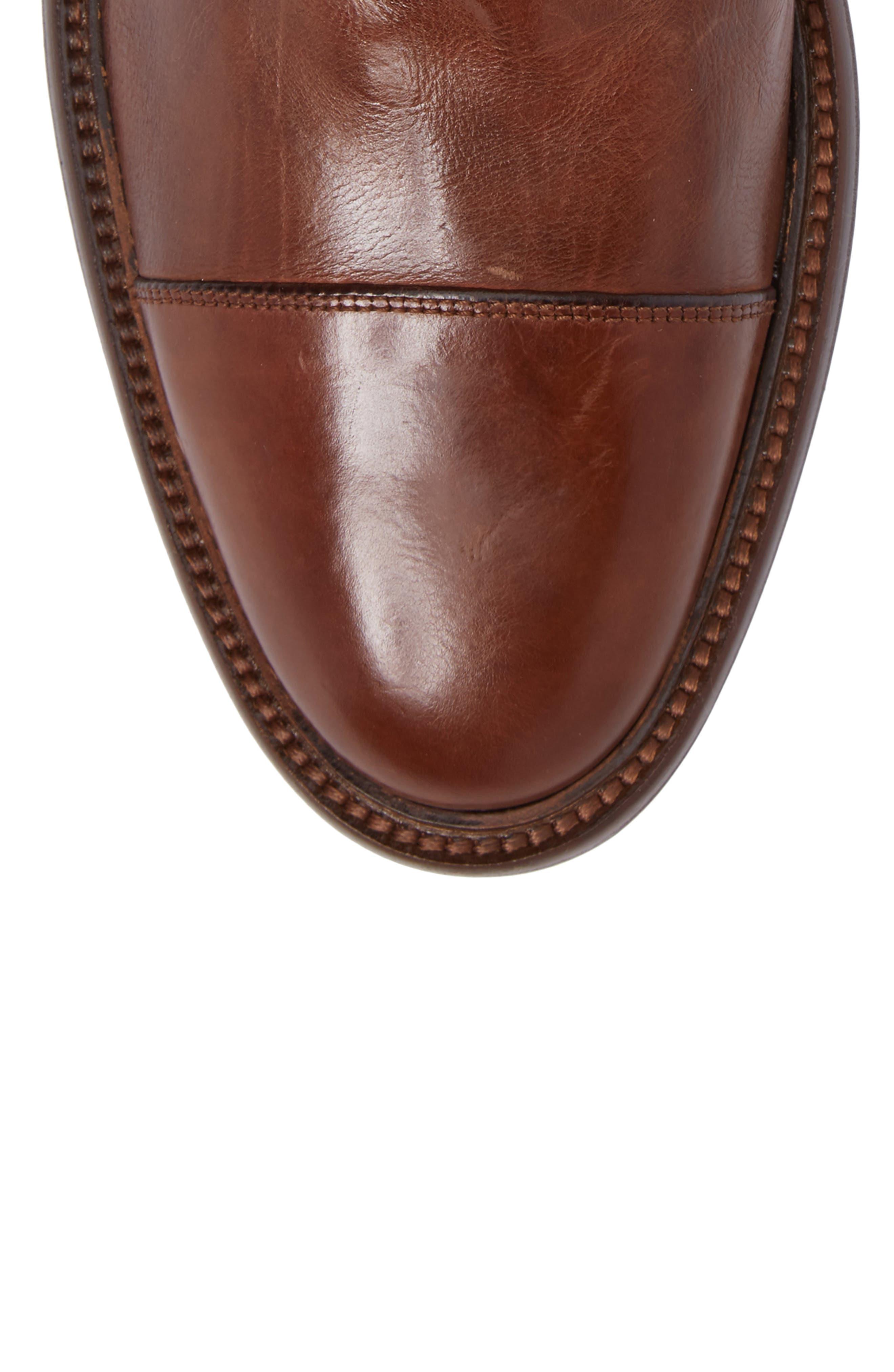 Bryson Cap Toe Boot,                             Alternate thumbnail 5, color,                             Mahogany Leather