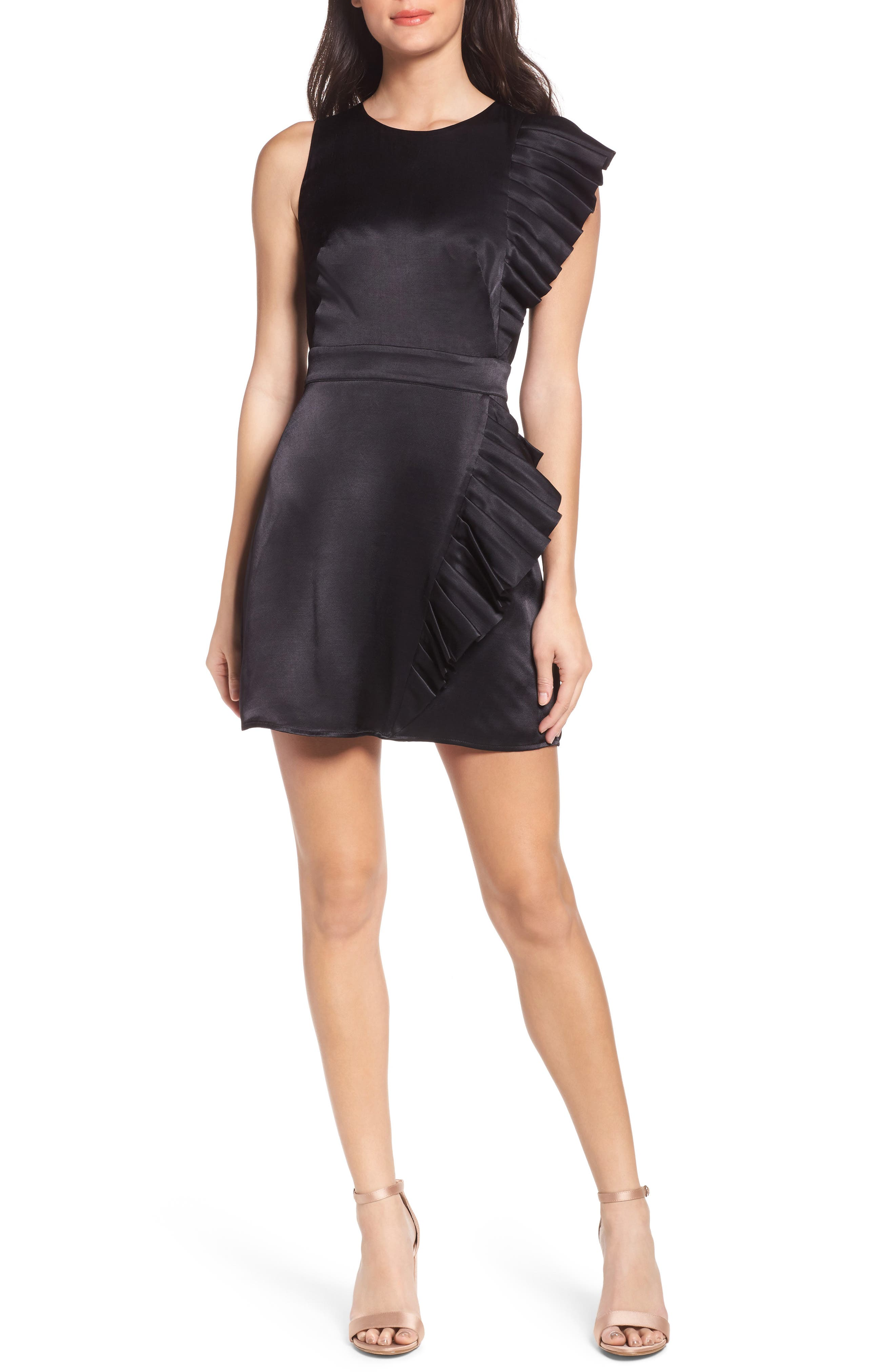 In Crown Satin Pleated Dress,                         Main,                         color, Black