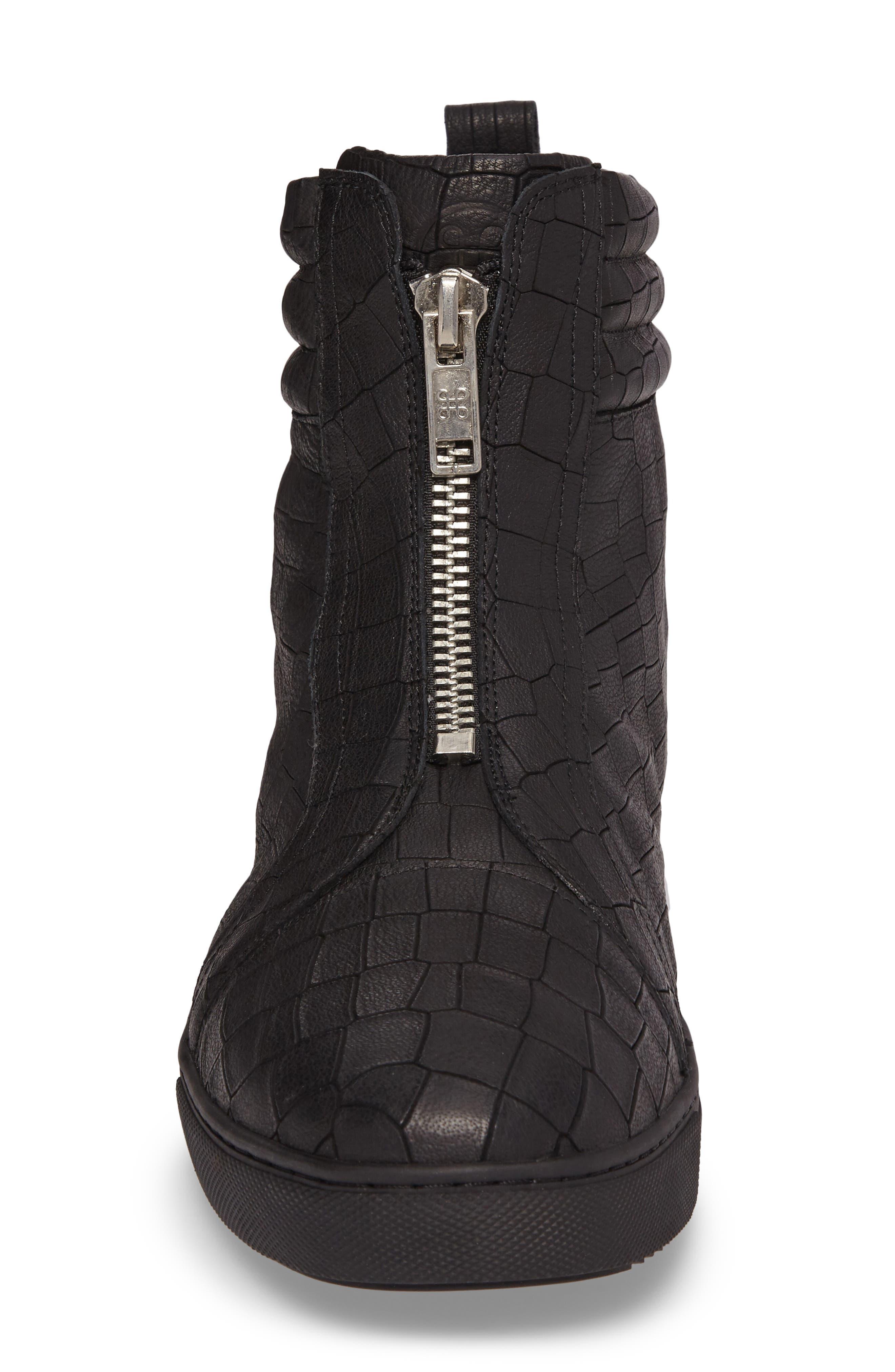 Hip & Bone Zip Boot,                             Alternate thumbnail 4, color,                             Black Croc Leather