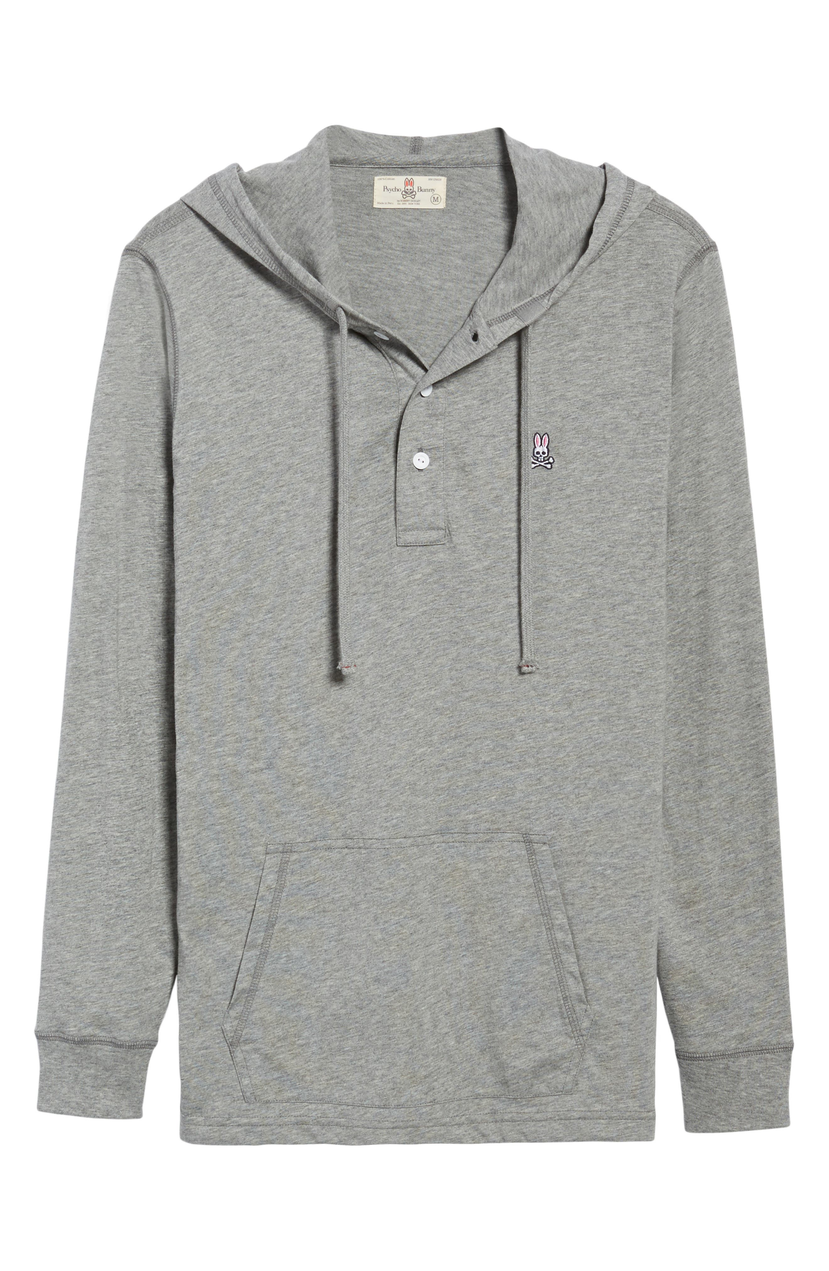 Delano Henley Hoodie,                             Alternate thumbnail 6, color,                             Heather Grey