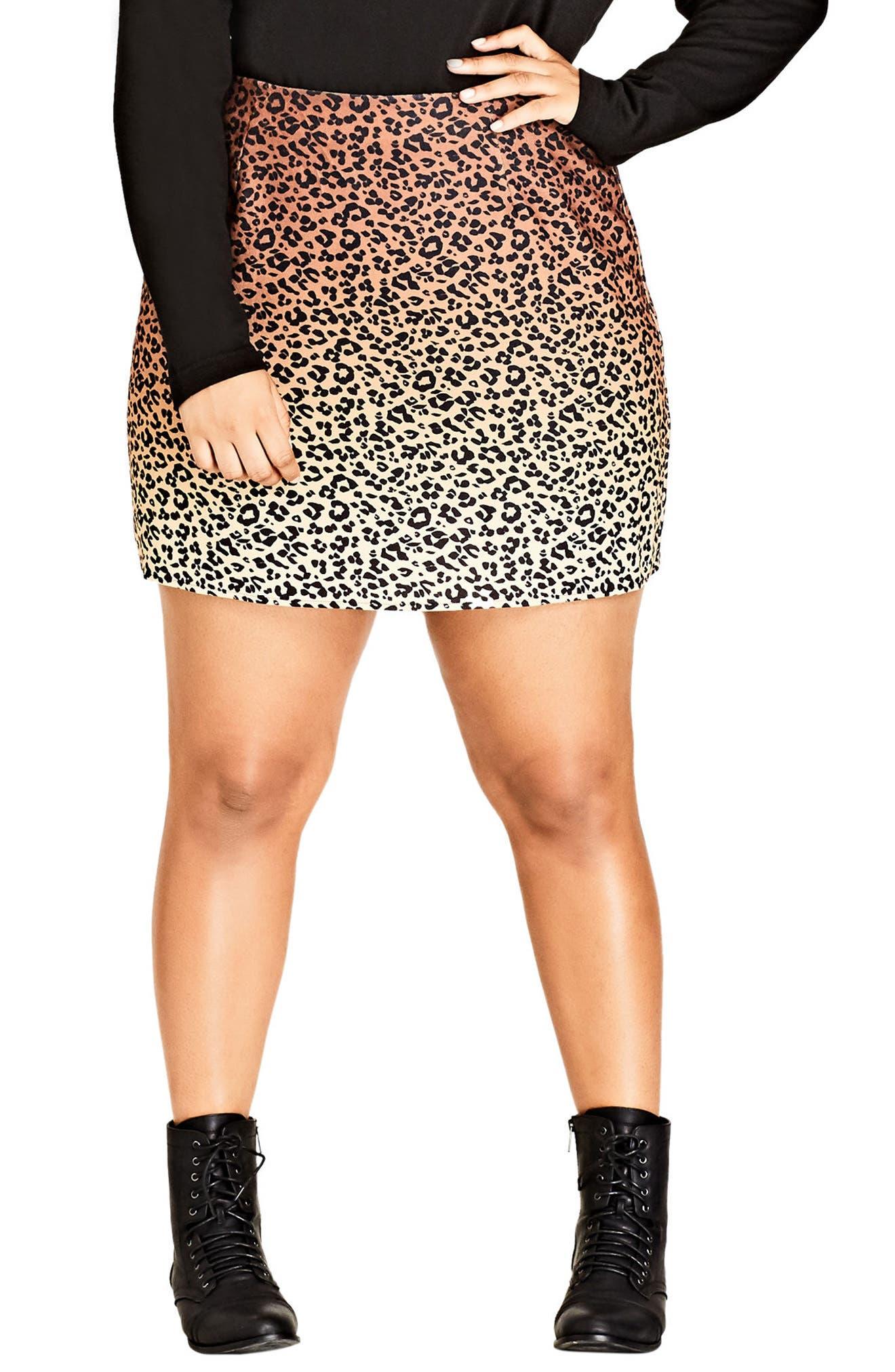 Main Image - City Chic Leopard Lover Miniskirt (Plus Size)